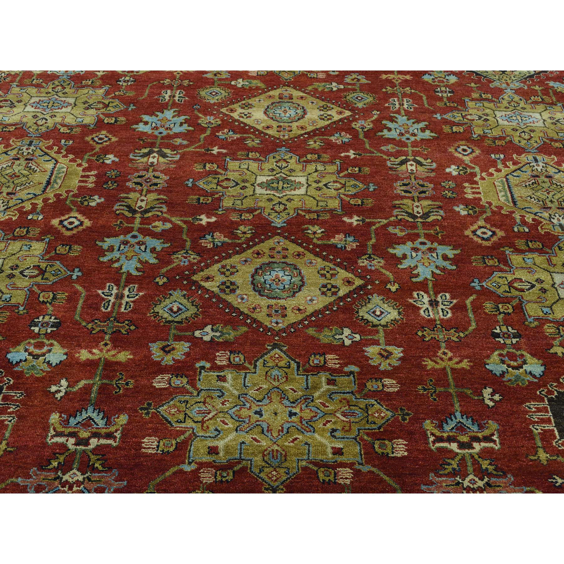 9-10--x9-10-- Hand-Knotted Round Karajeh Pure Wool Oriental Rug