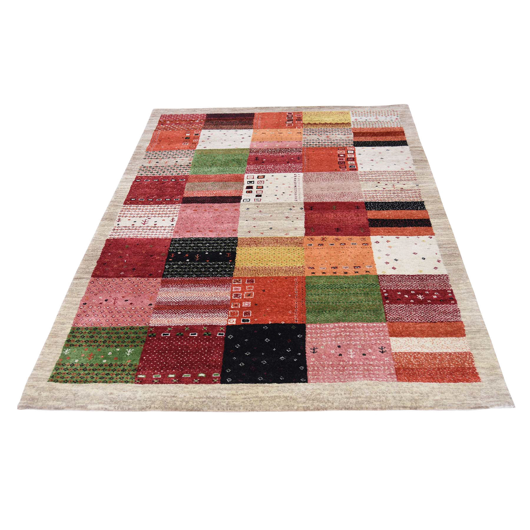 4'1''x6'2'' Persian Wool Hand Made Lori Buft Gabbeh Patchwork Design Rug