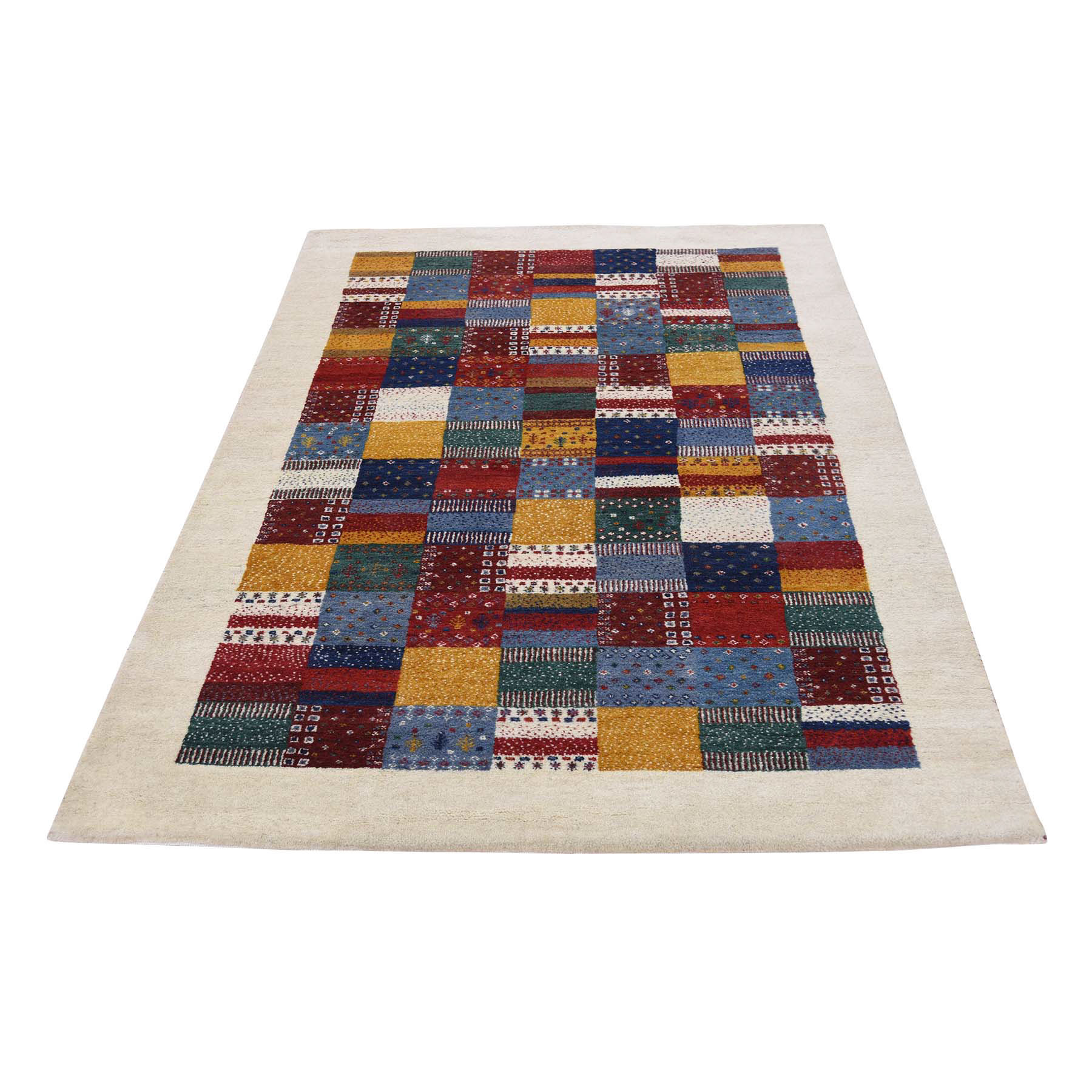 4'X6' Persian Wool Hand Knotted Lori Buft Gabbeh Patchwork Design Rug moac8aad