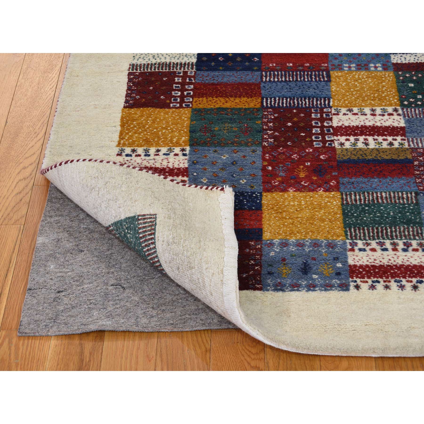 4'x6' Persian Wool Hand Knotted Lori Buft Gabbeh Patchwork Design Rug
