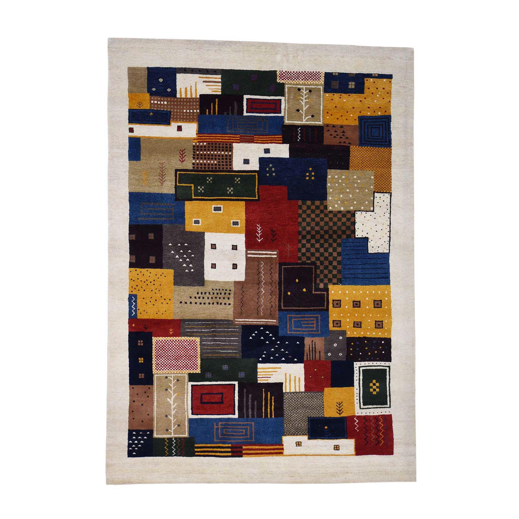 5'9''X8'3'' Persian Wool Hand-Made Lori Buft Gabbeh Patchwork Design Rug moac8aae