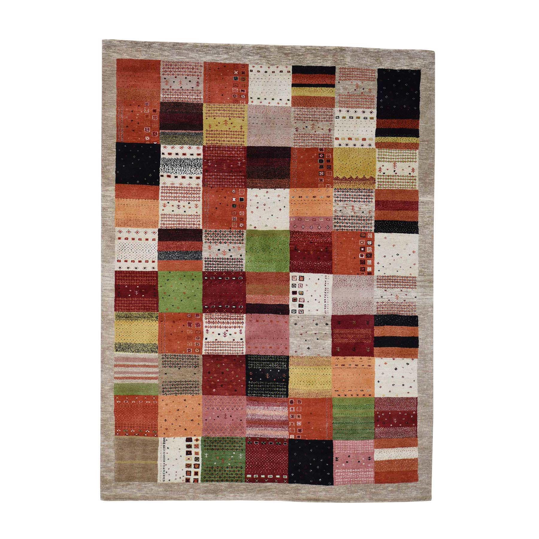 5'8''X8' Persian Wool Hand-Made Lori Buft Gabbeh Patchwork Design Rug moac8aa8