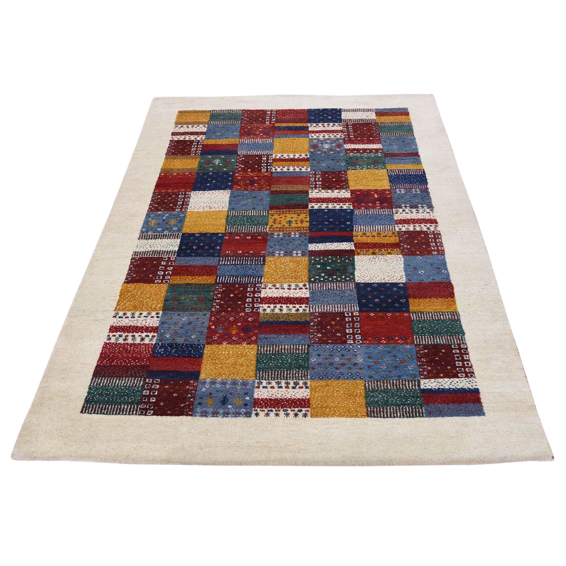 4'X6' Persian Wool Hand Knotted Lori Buft Gabbeh Patchwork Design Rug moac8ade