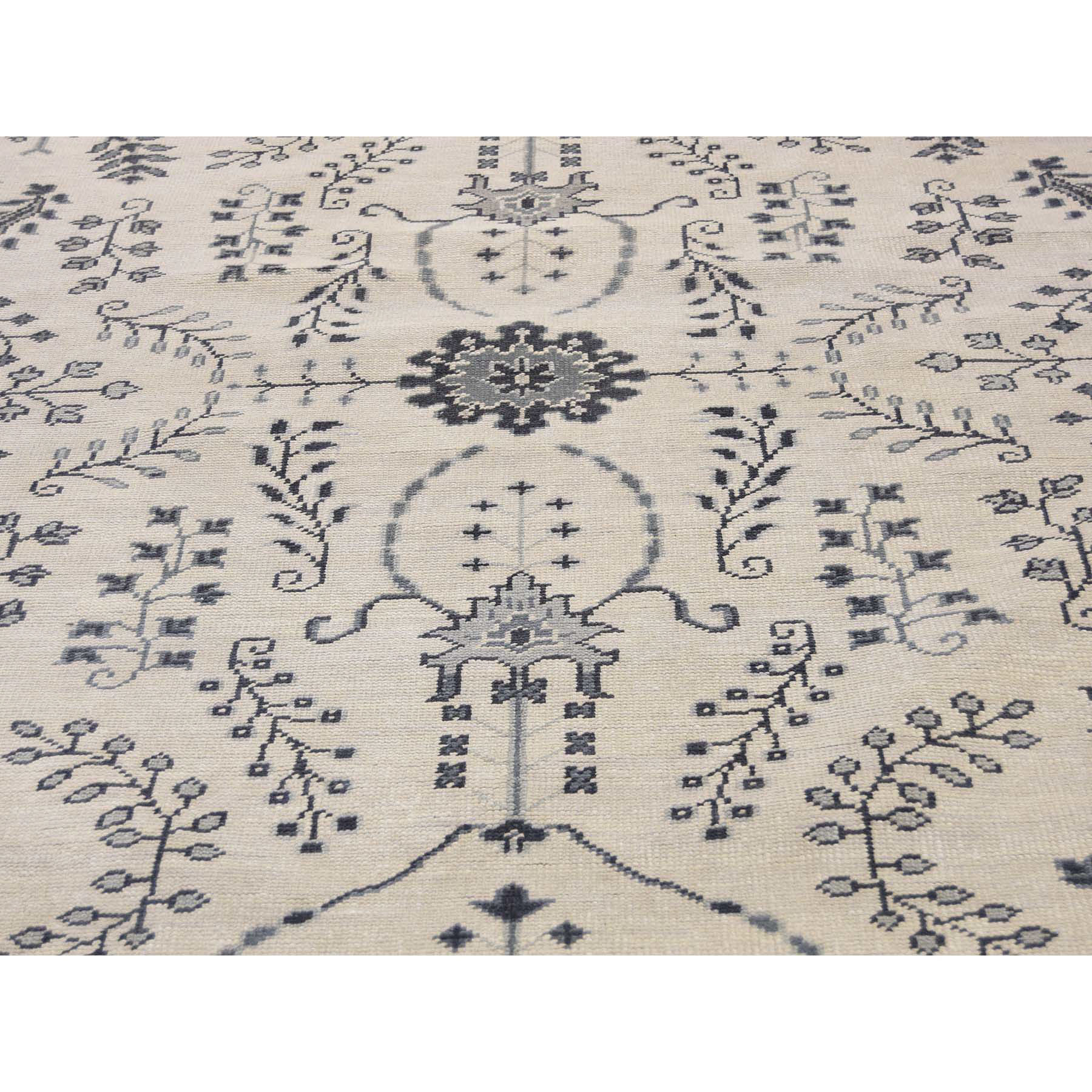 8'x10' Ivory Turkish Knot Oushak Hand-Knotted Pure Wool Oriental Rug