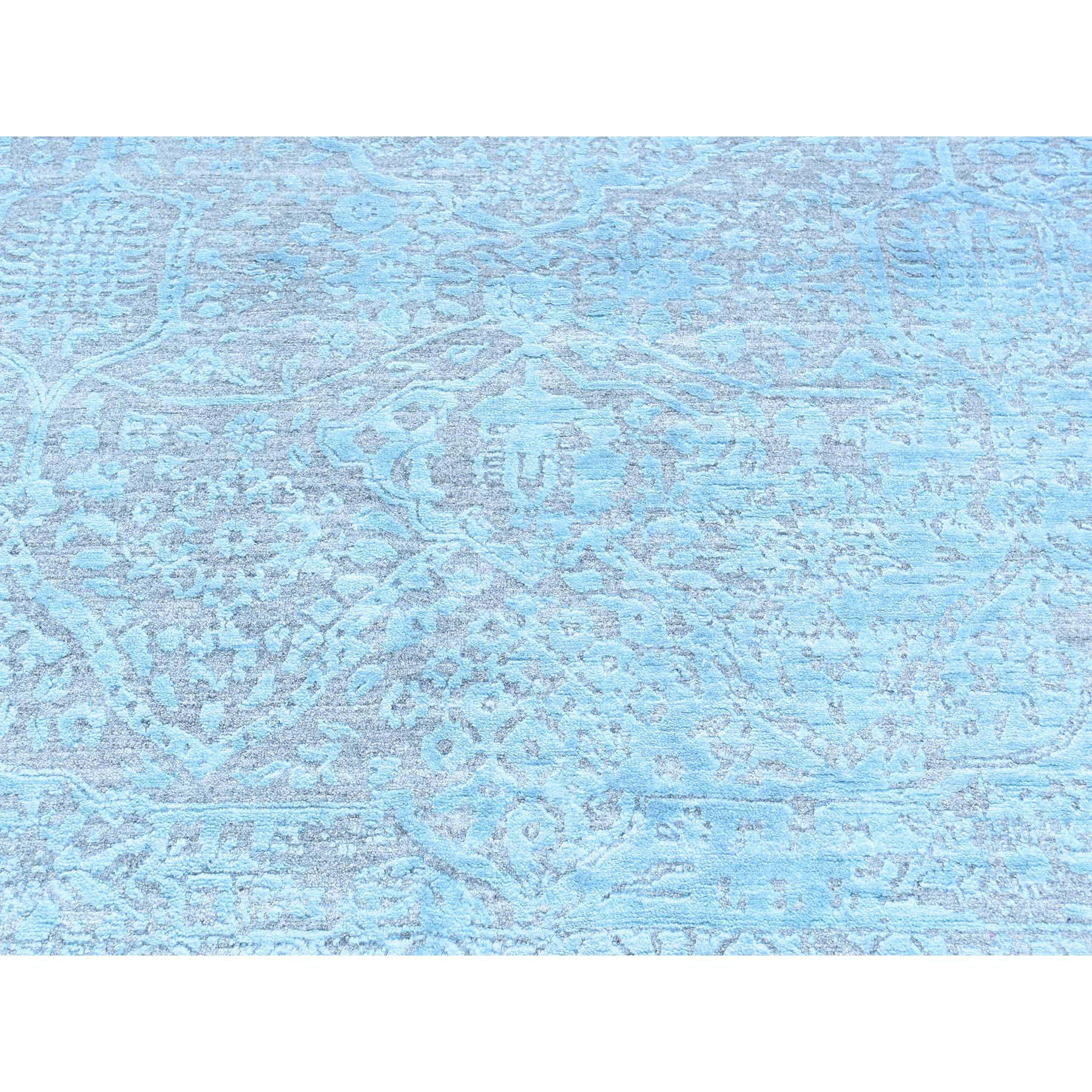 12'x12' Hand-Knotted Broken Persian Design Square Wool And Silk Rug
