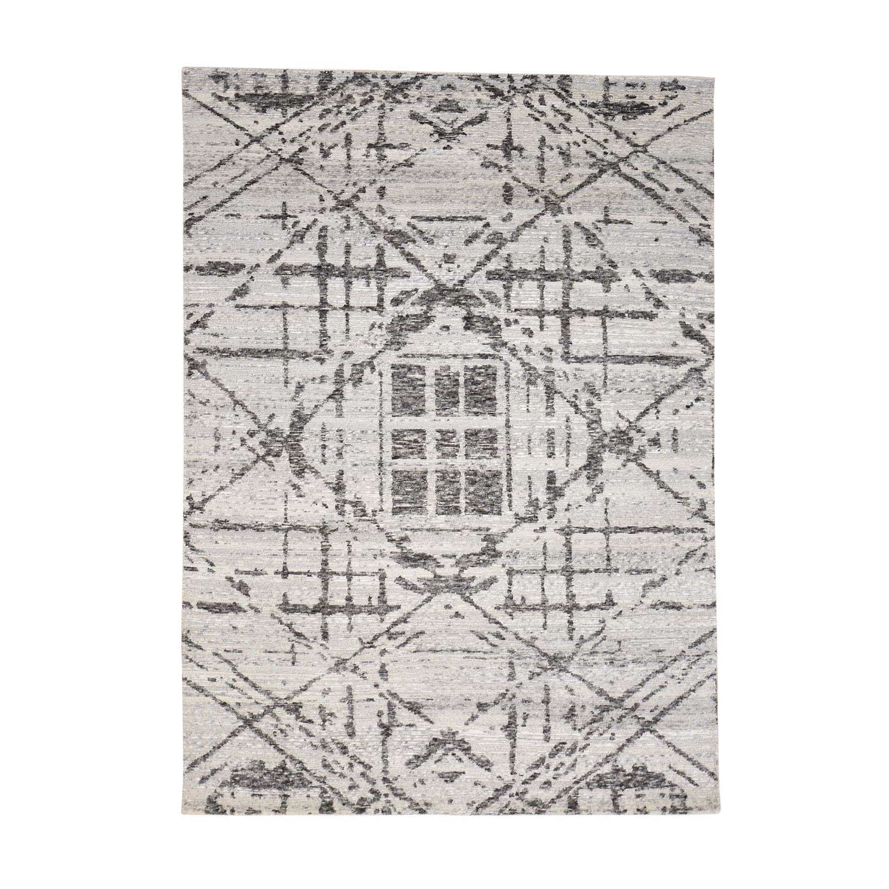 5'X7' Hand Spun Undyed Natural Wool Modern Grey Oriental Rug moac8a89