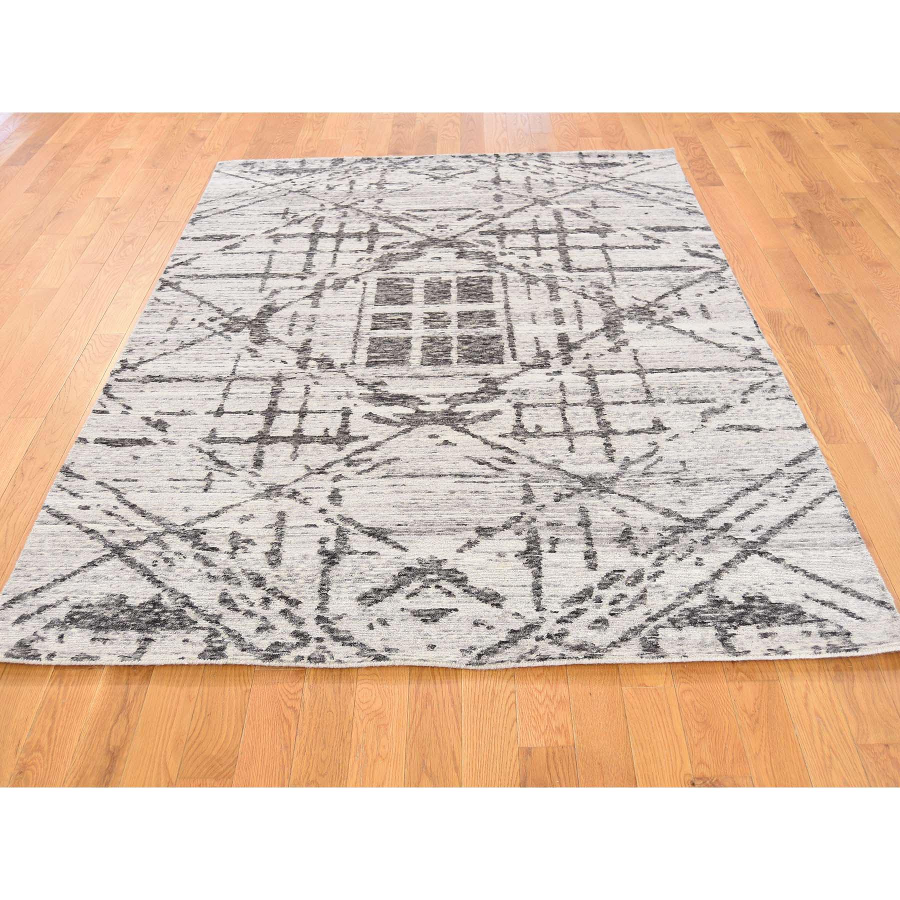 5 X7 Hand Spun Undyed Natural Wool Modern Grey Oriental Rug