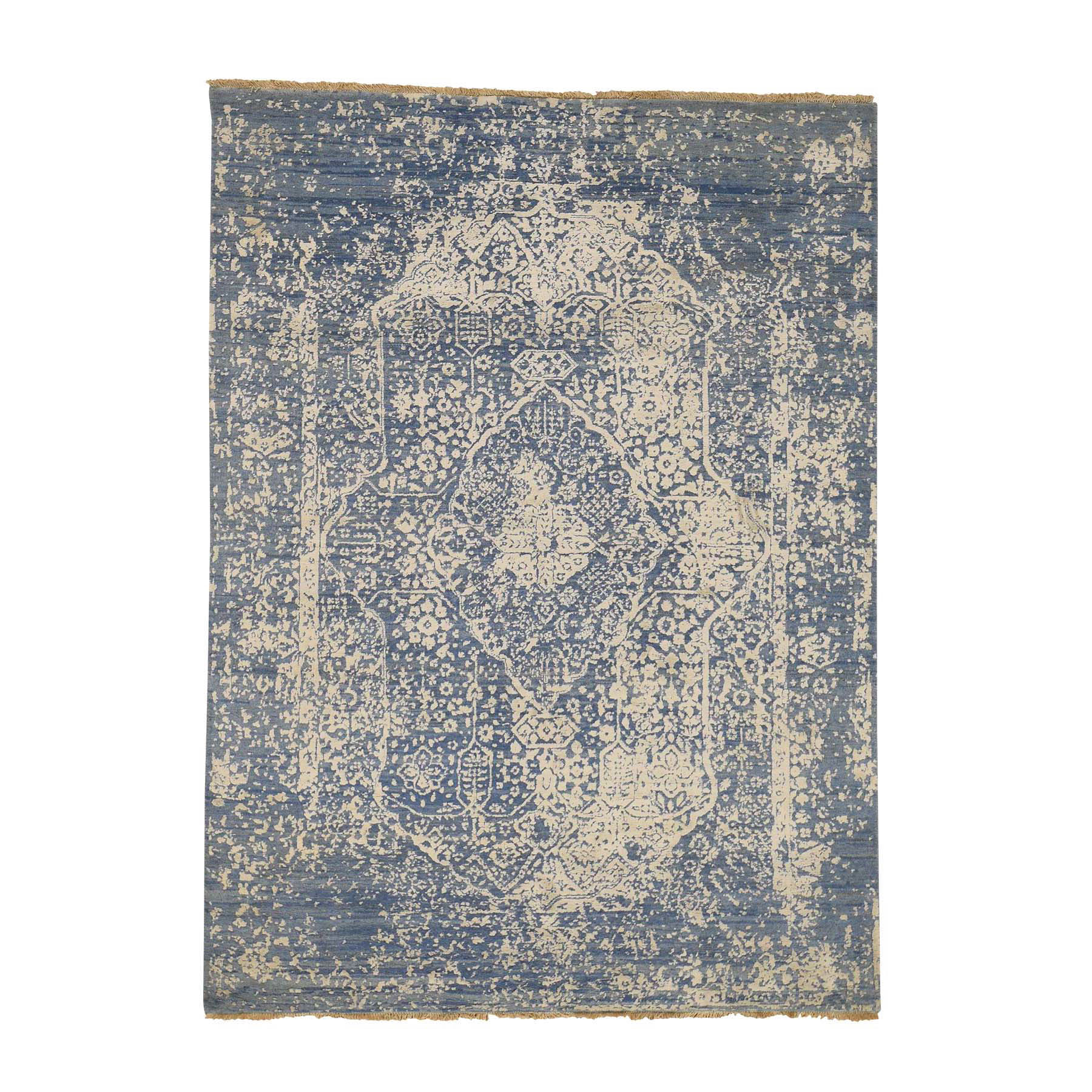 5'1''X7' Denim Blue Wool And Pure Silk Hand-Knotted Broken Persian Design Rug moac8bba