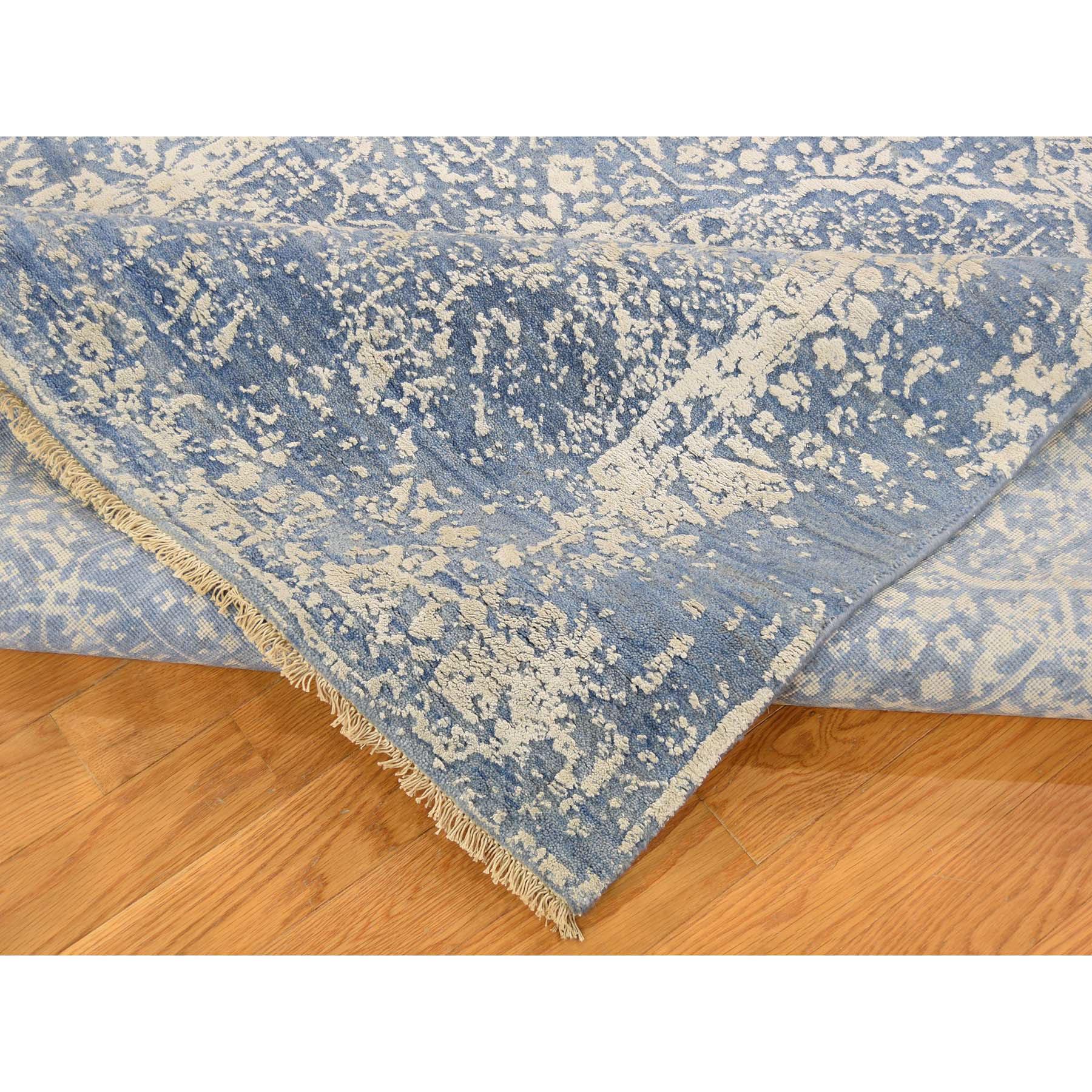 5-1--x7- Denim Blue Wool and Silk Hand-Knotted Broken Persian Design Rug