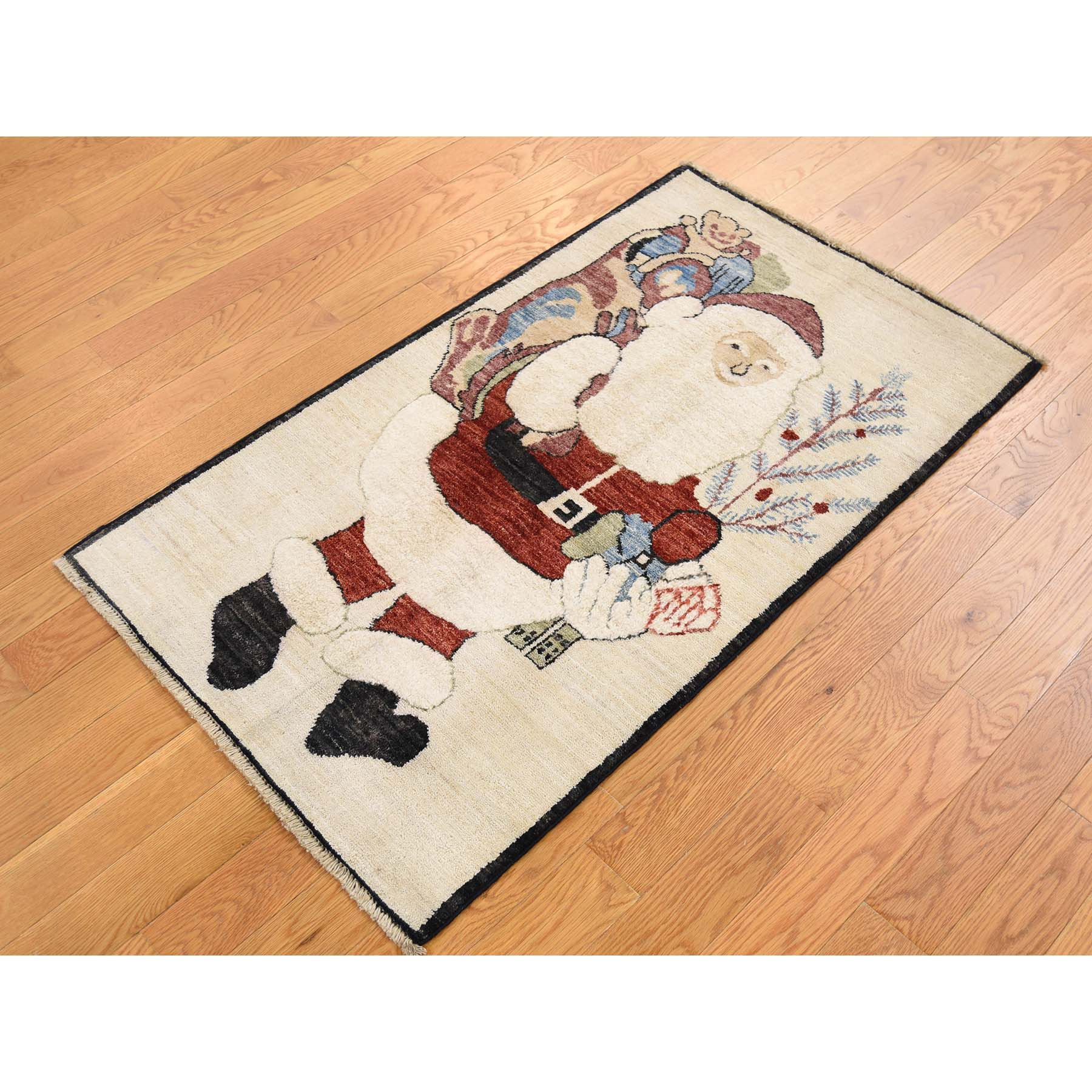 2'3''x3'10'' Hand-Knotted Pure Wool Fluffy Beard Santa Claus Peshawar Quality Rug