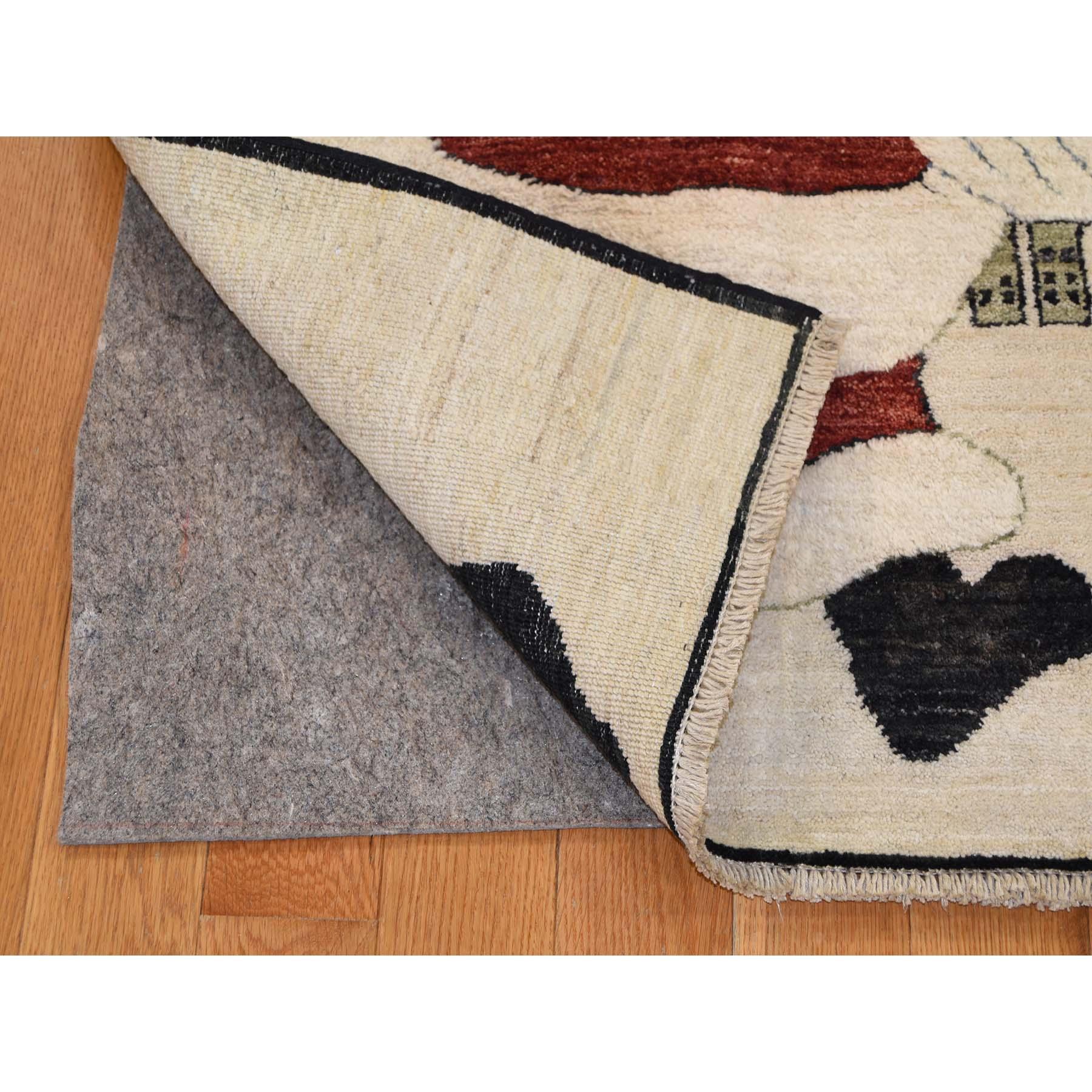 2'3''x3'10'' Hand-Knotted Pure Wool Fluffy Beard Santa Claus Peshawar Quality Rug