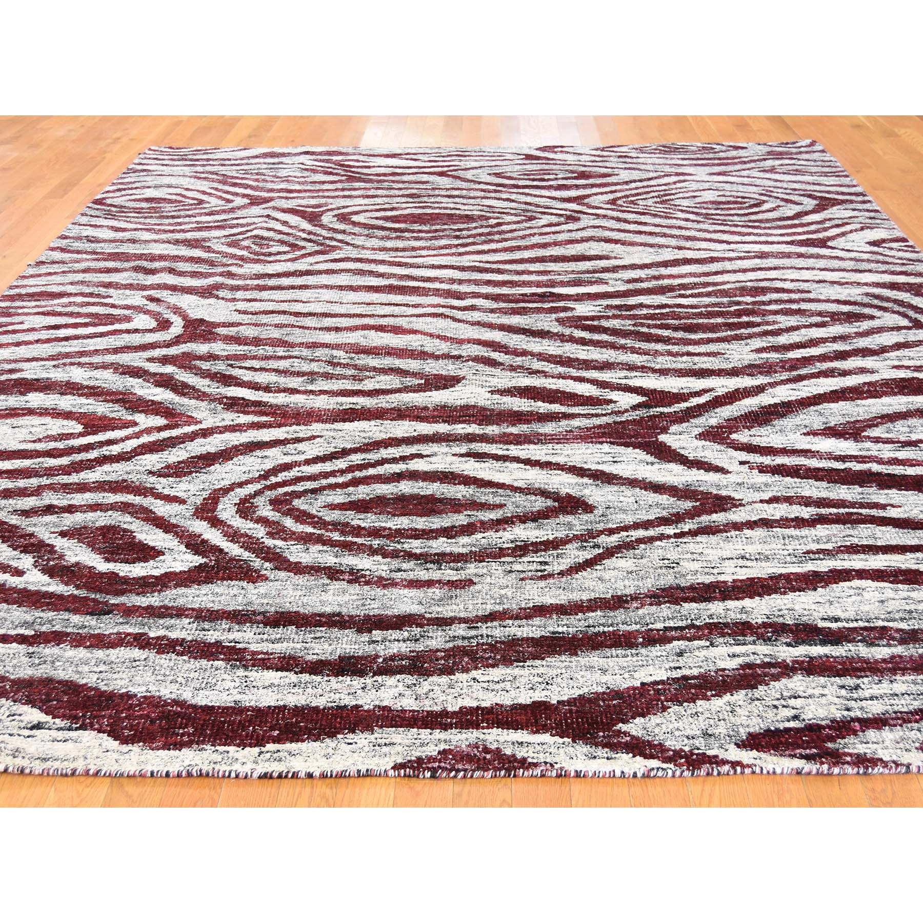 9'x11'7'' Hand Knotted Sari Silk with Tree Bark Design Oriental Rug