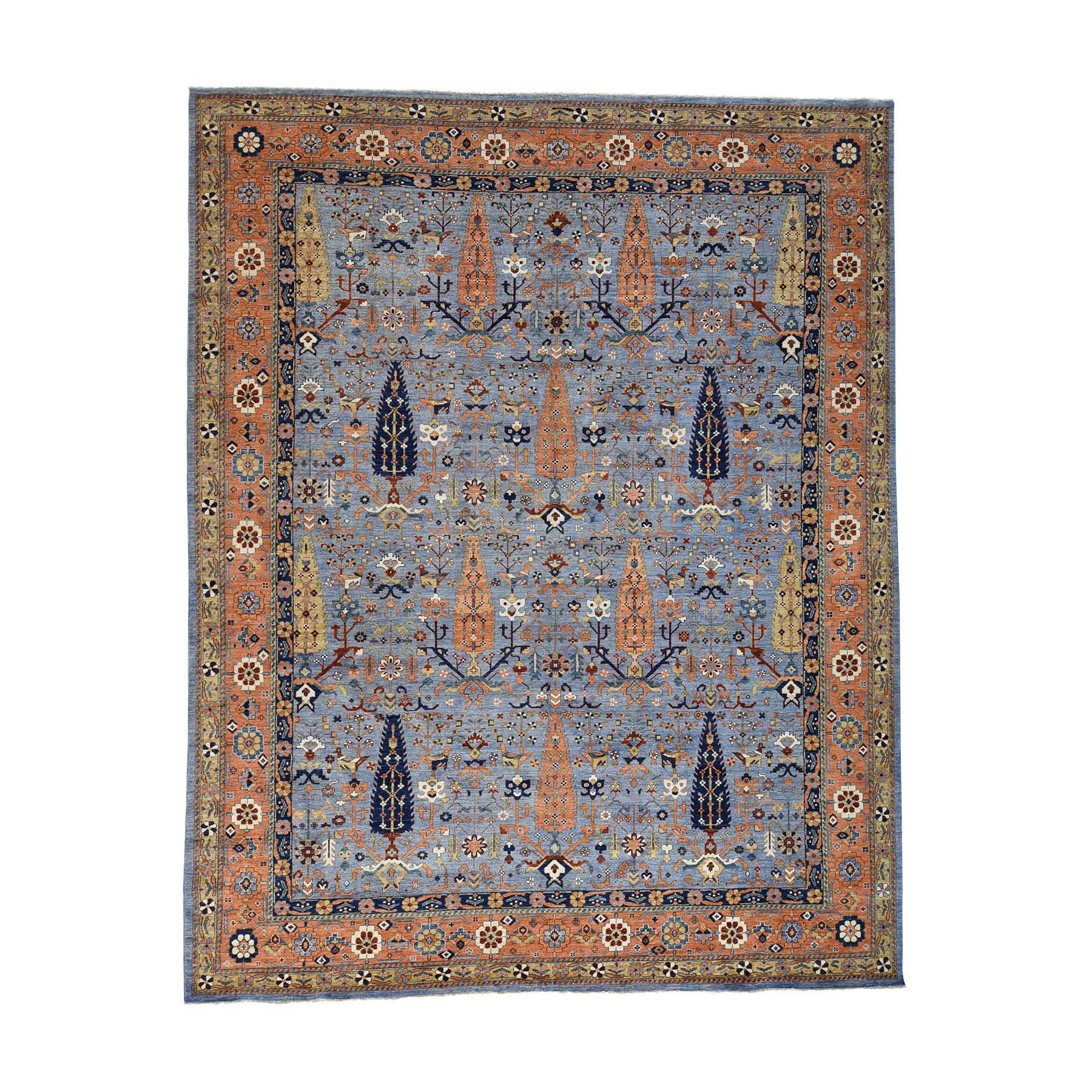 11'10''X15' Hand Knotted Willow And Cypress Tree Design Oversize Peshawar Rug moac8c97