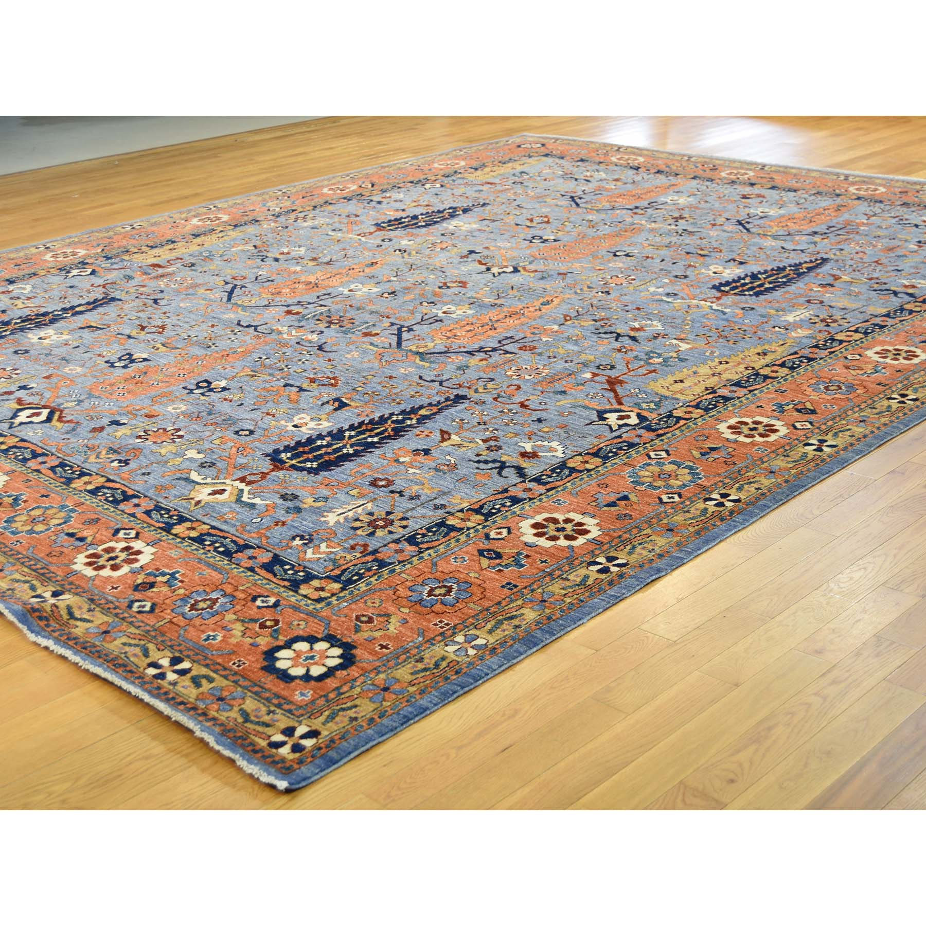 11-10--x15- Hand Knotted Willow And Cypress Tree Design Oversize Peshawar Rug