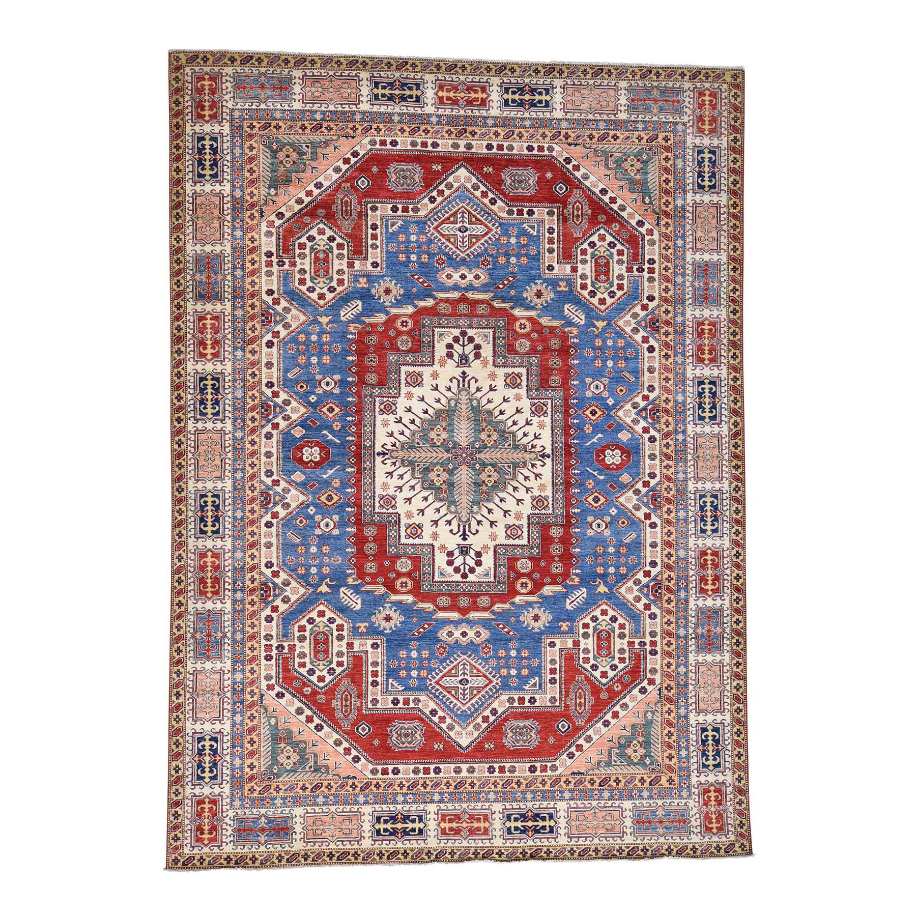 9'7''X13'5'' Hand-Knotted Denim Blue Super Kazak With Heriz Design Rug moac8dcb