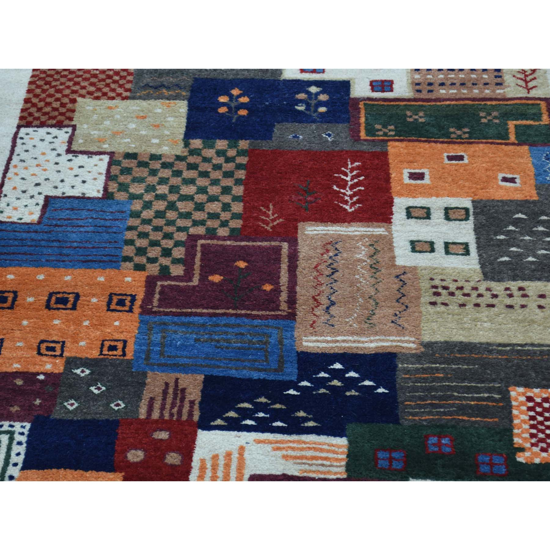 2-x3-1-- Hand-Knotted Persian Wool Lori Buft Gabbeh Patchwork Design Rug