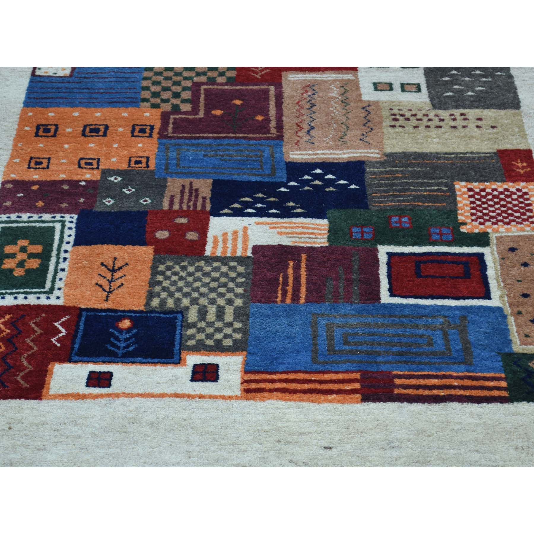 2-x3- Hand-Knotted Persian Wool Lori Buft Gabbeh Patchwork Design Rug