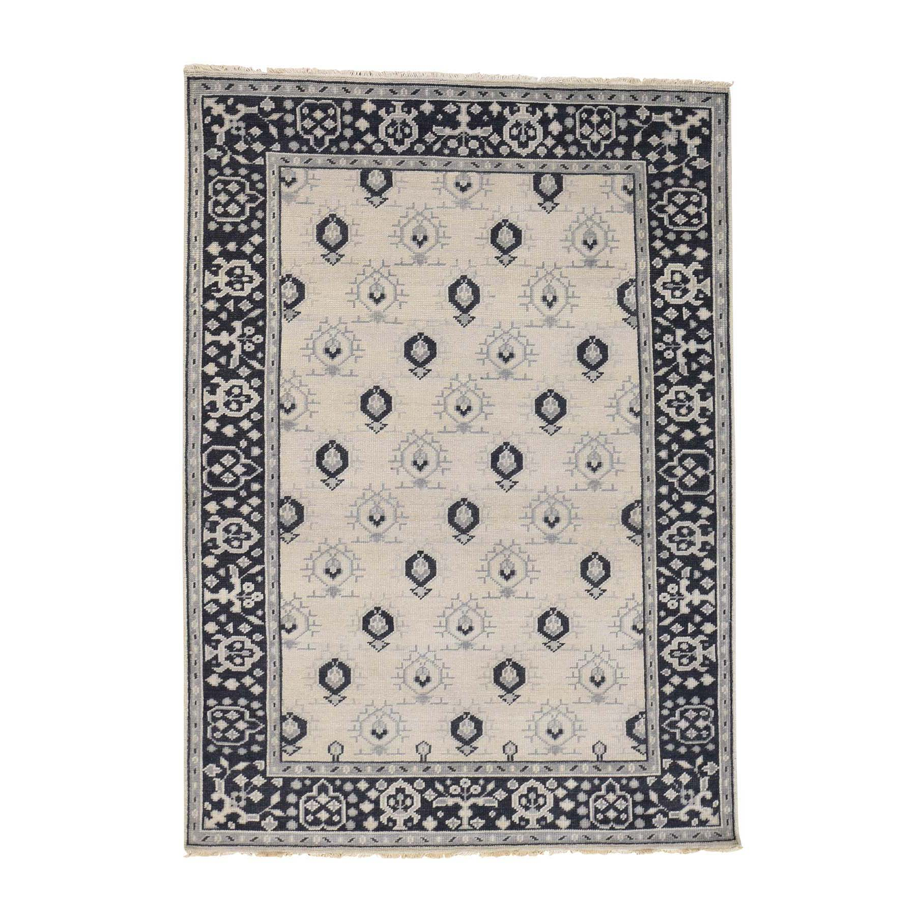 5'1''X7'1'' Hand-Knotted Turkish Knot Oushak Ivory Pure Wool Oriental Rug moac8eb8