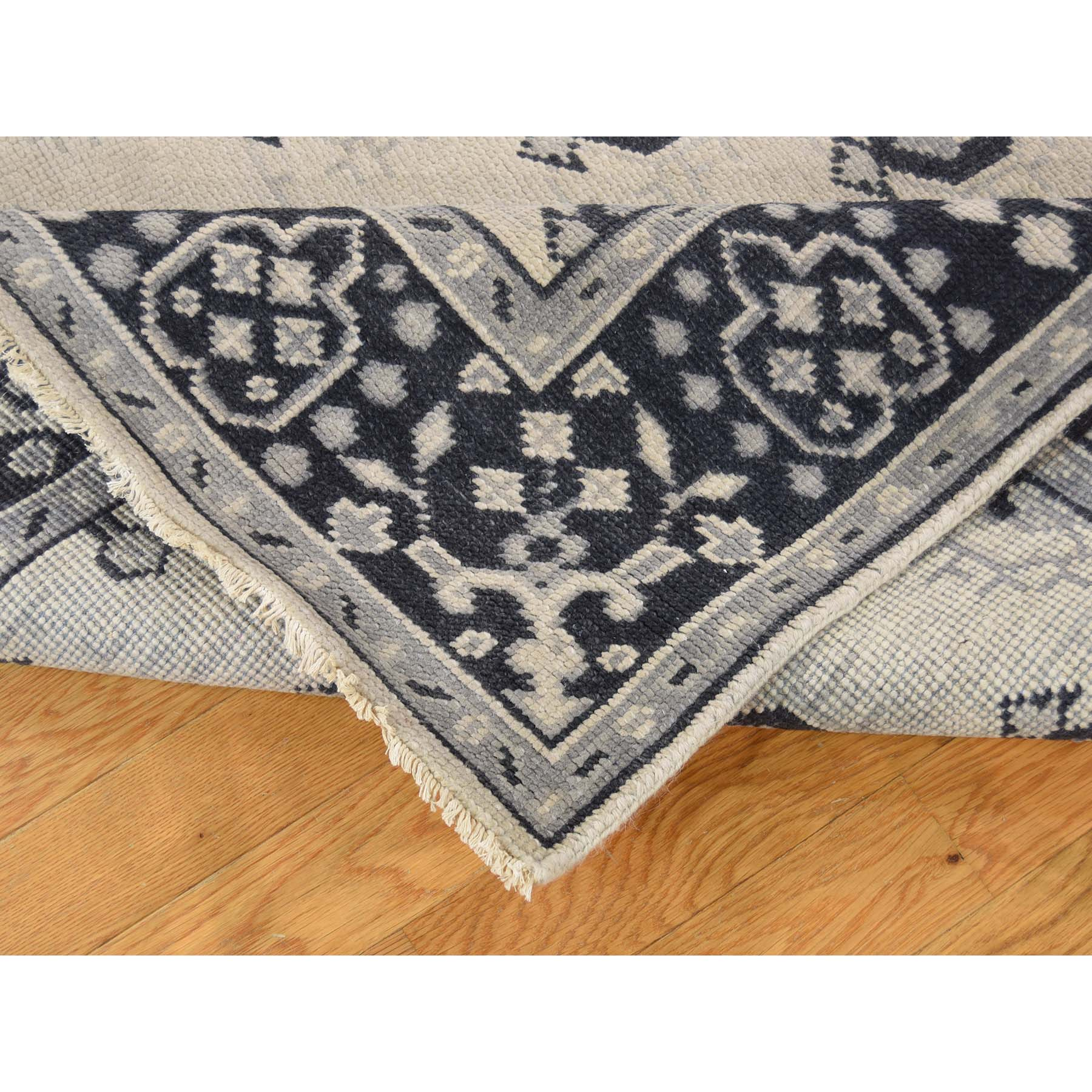 5-1--x7-1-- Hand-Knotted Turkish Knot Oushak Ivory Pure Wool Oriental Rug
