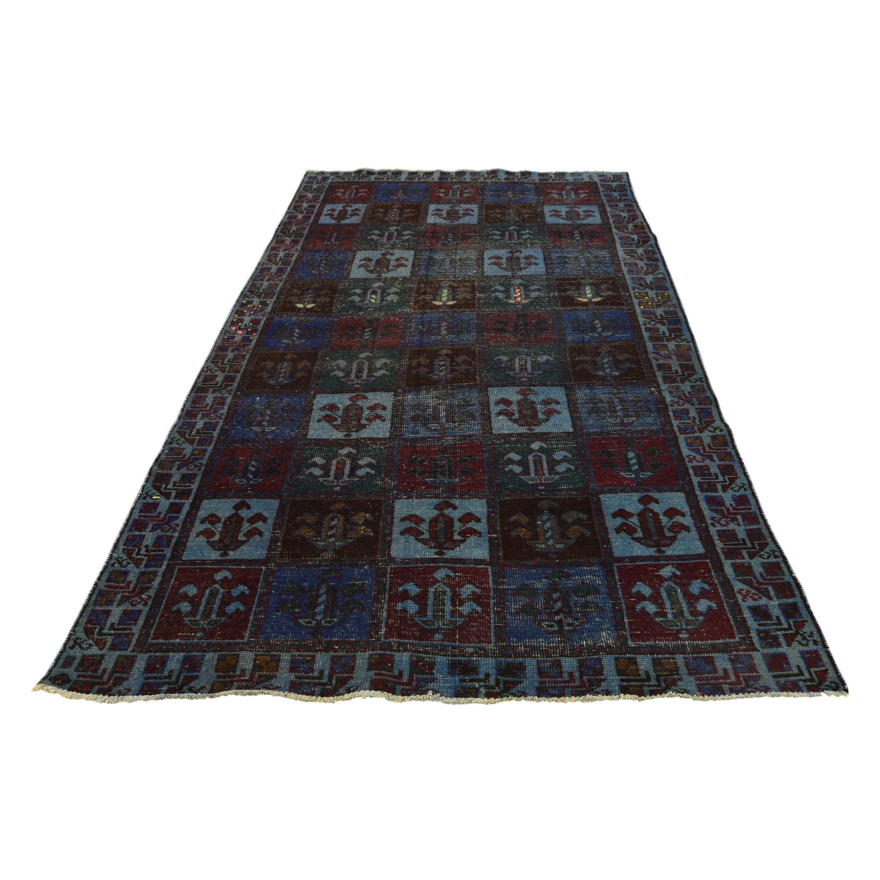 4'3''X8'2'' Hand Knotted Overdyed Persian Bakhtiari Worn Wide Runner Rug moac8edc