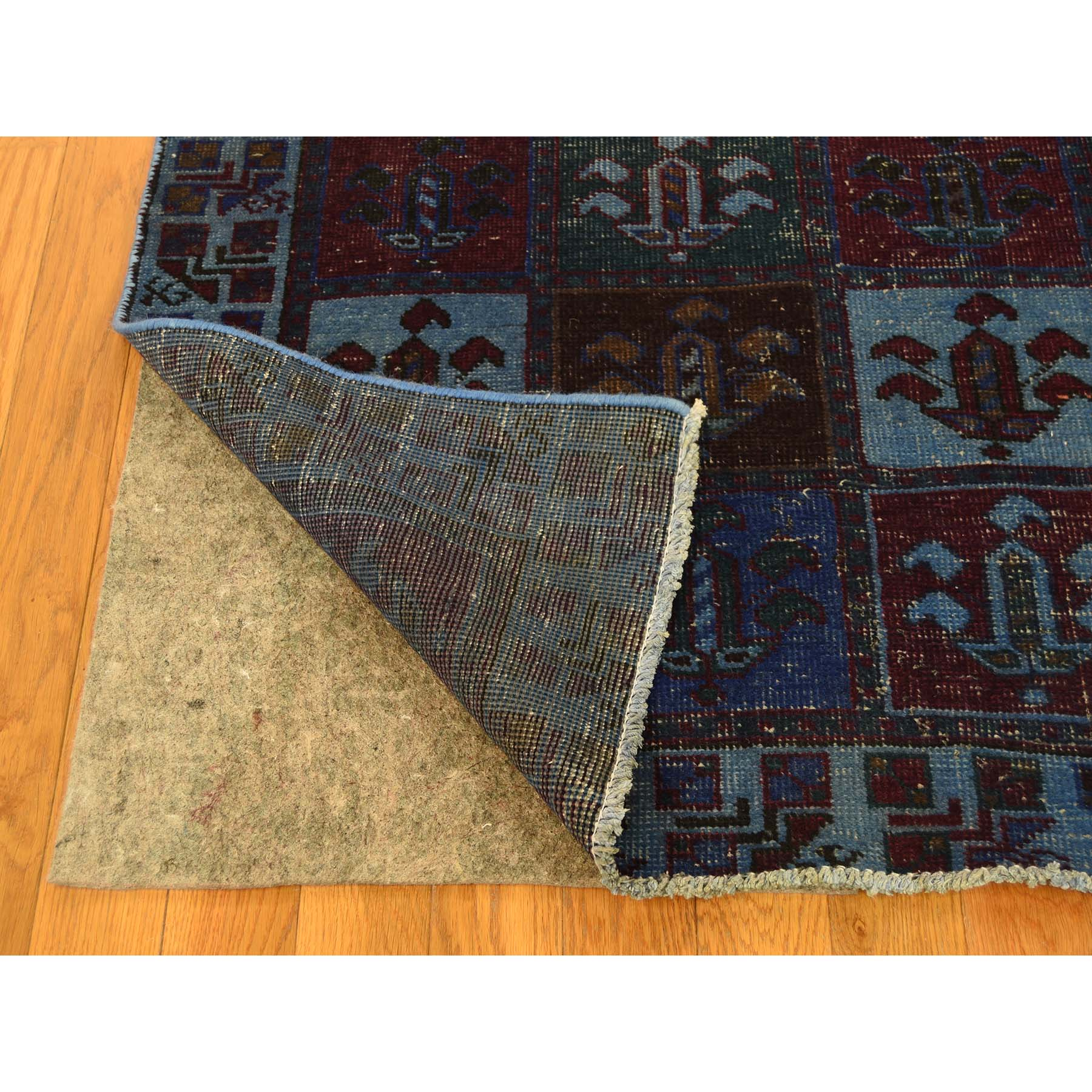 4-3--x8-2-- Hand Knotted Overdyed Persian Bakhtiari Worn Wide Runner Rug