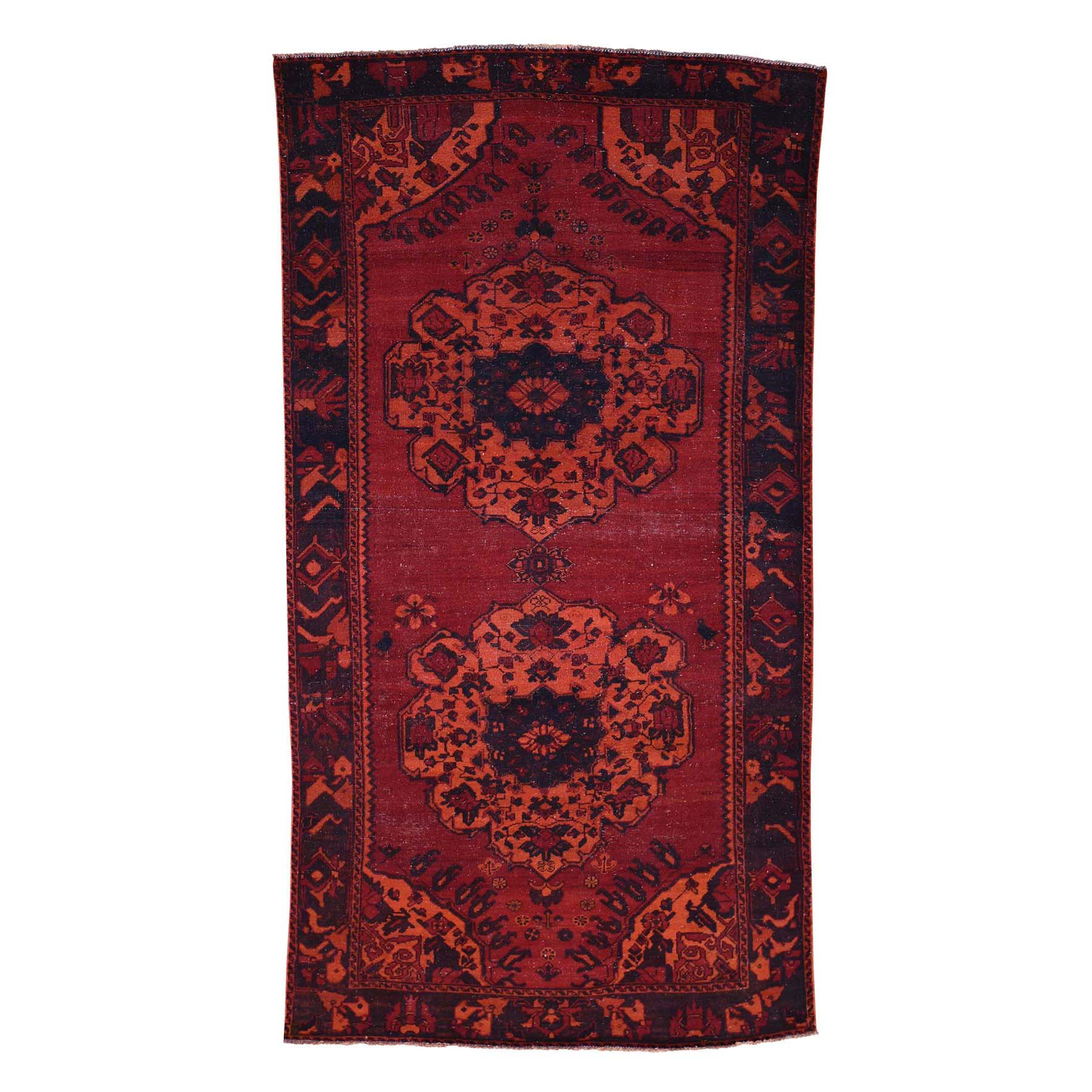 5'1''X9'8'' Overdyed Persian Bakhtiari Hand Knotted Worn Wide Runner Rug moac8edd
