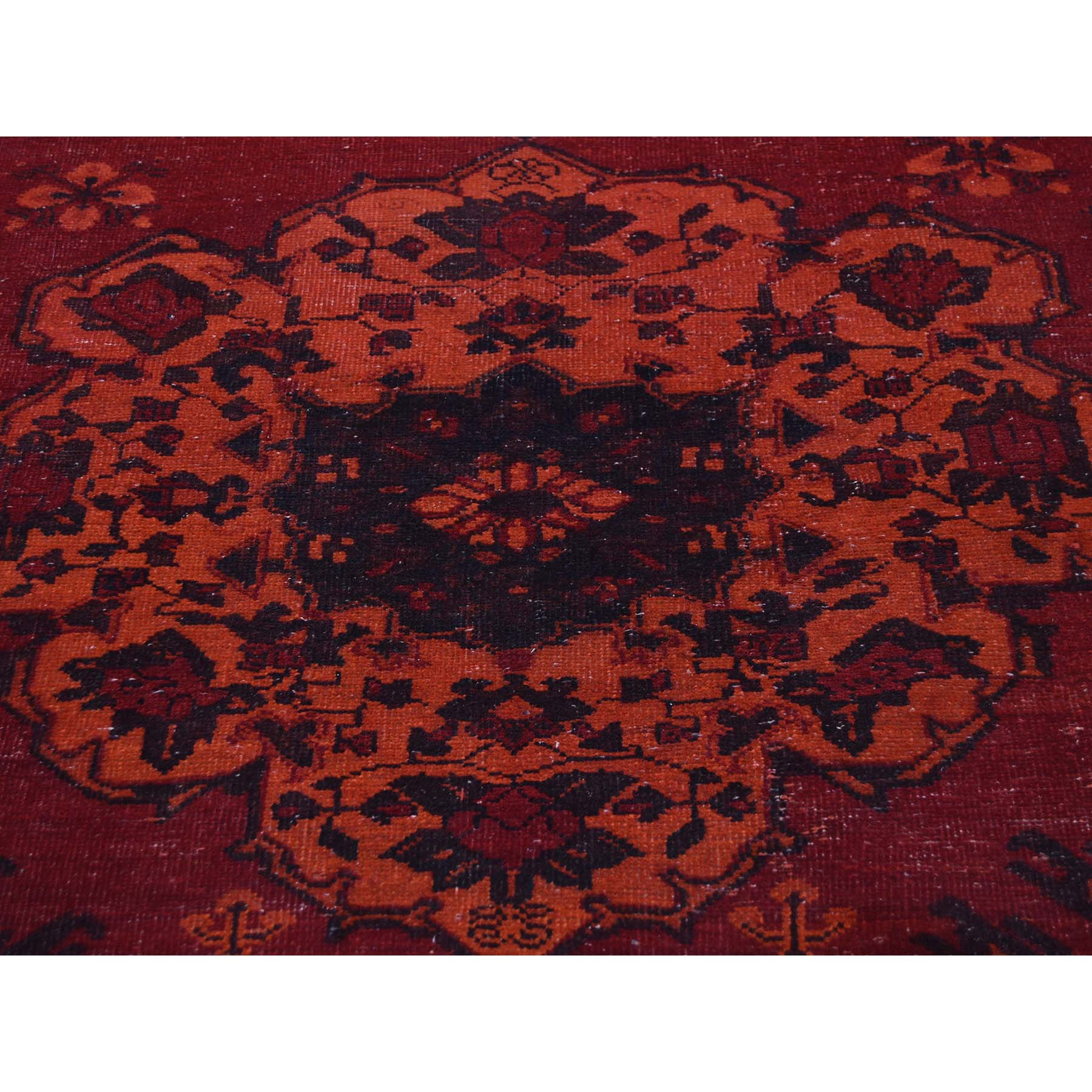 5-1--x9-8-- Overdyed Persian Bakhtiari Hand Knotted Worn Wide Runner Rug