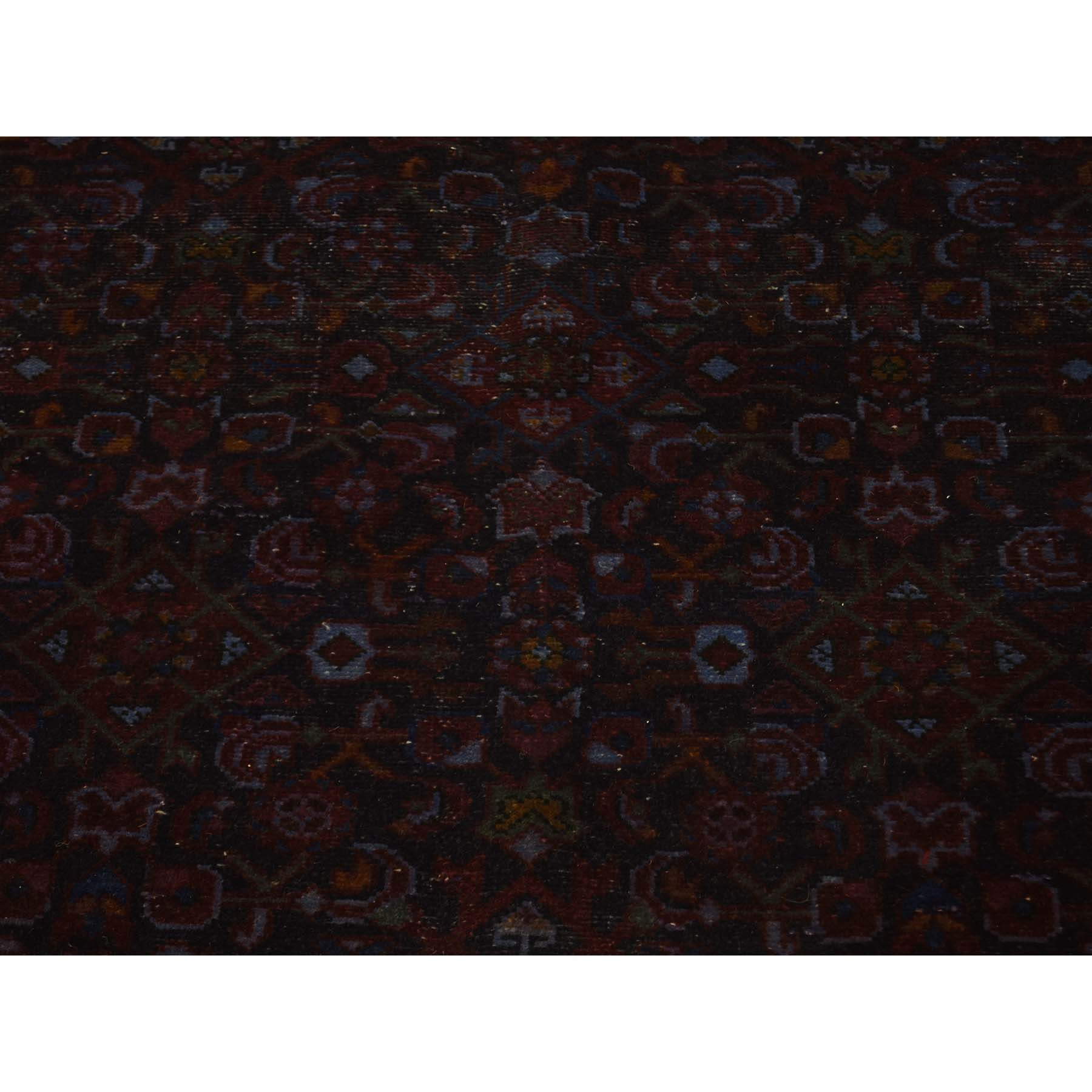4-8--x9-6-- Overdyed Persian Birjand Hand-Knotted Wide Runner Rug