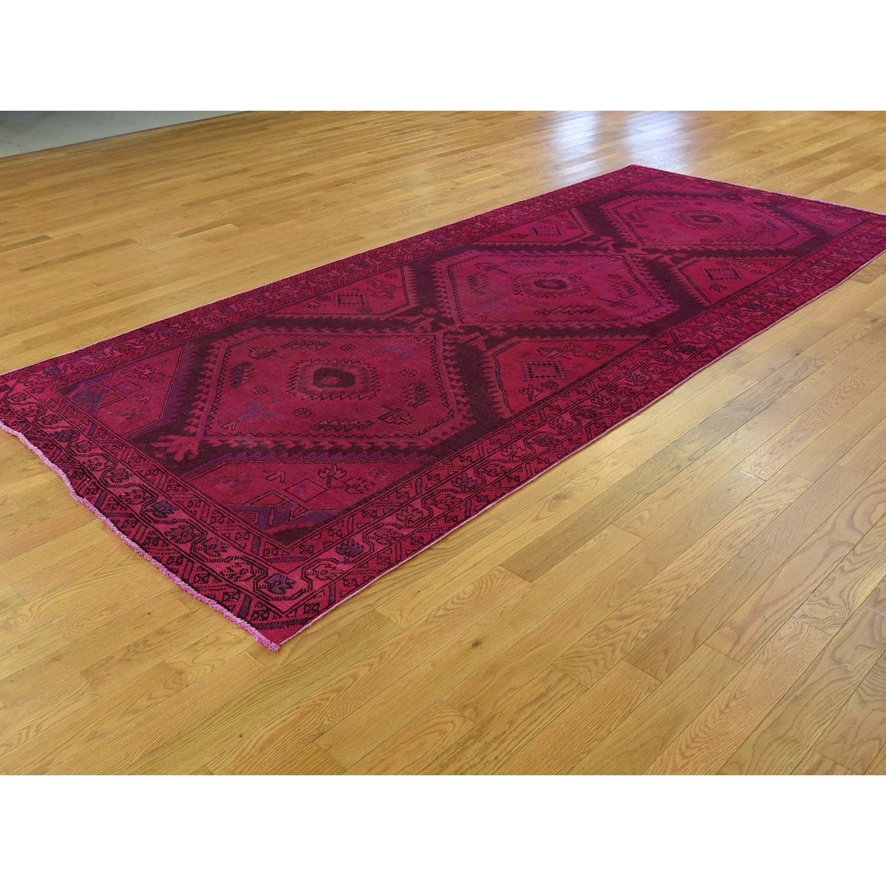 4-9--x10-9-- Overdyed Persian Hamadan Worn Hand-Knotted Wide Runner Rug