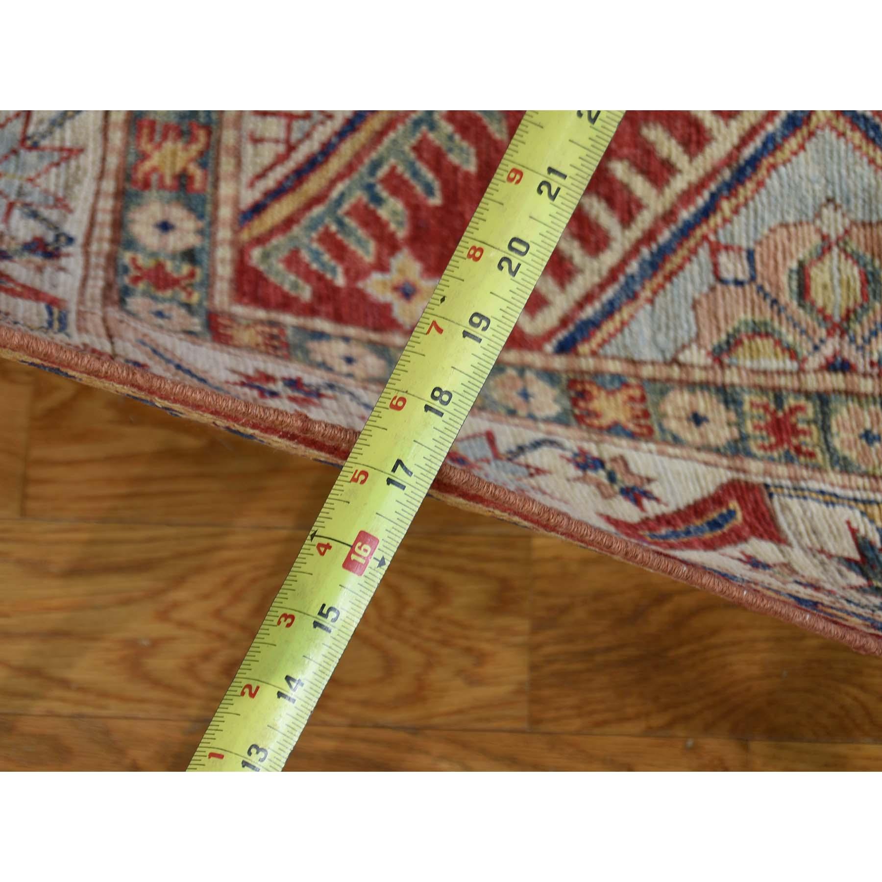 5-x7-2-- Red Super Kazak Pure Wool Hand Knotted Geometric Design Rug