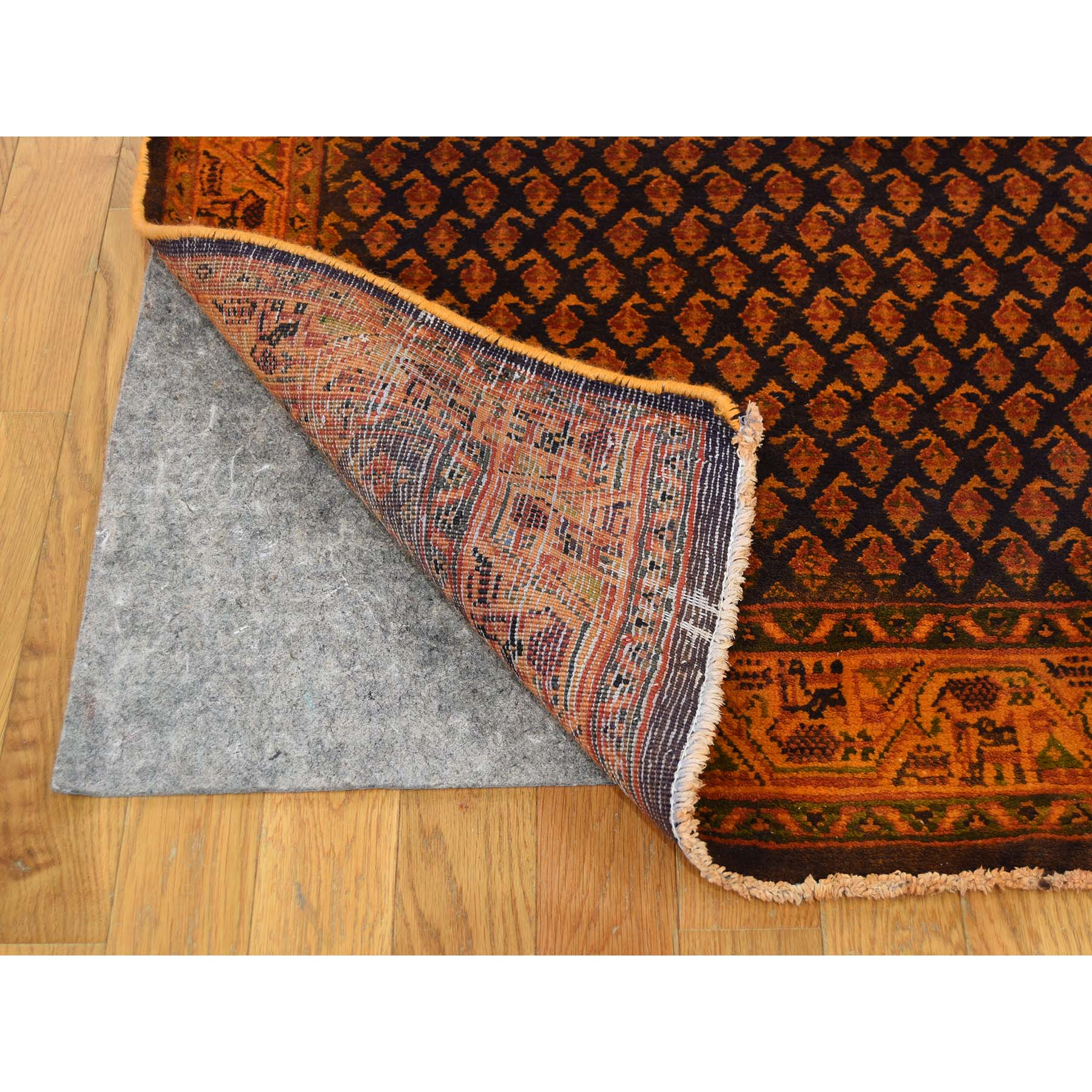 3-5--x10-5-- Hand-Knotted Overdyed Persian Sarouk Mir Worn Wide Runner Rug