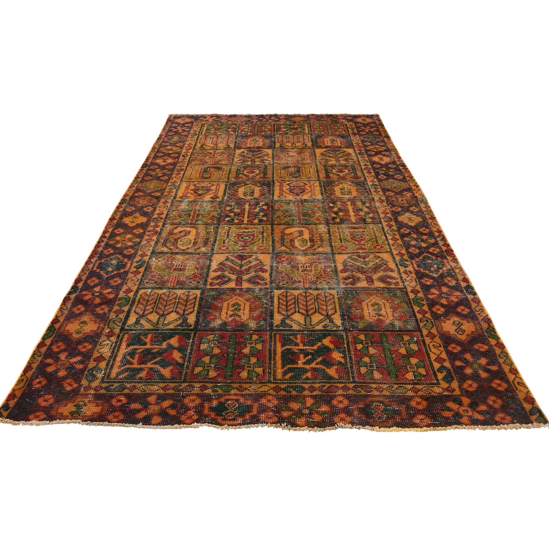 4'10''X9'6'' Hand Knotted Vintage Overdyed Persian Bakhtiari Wide Runner Rug moac8677