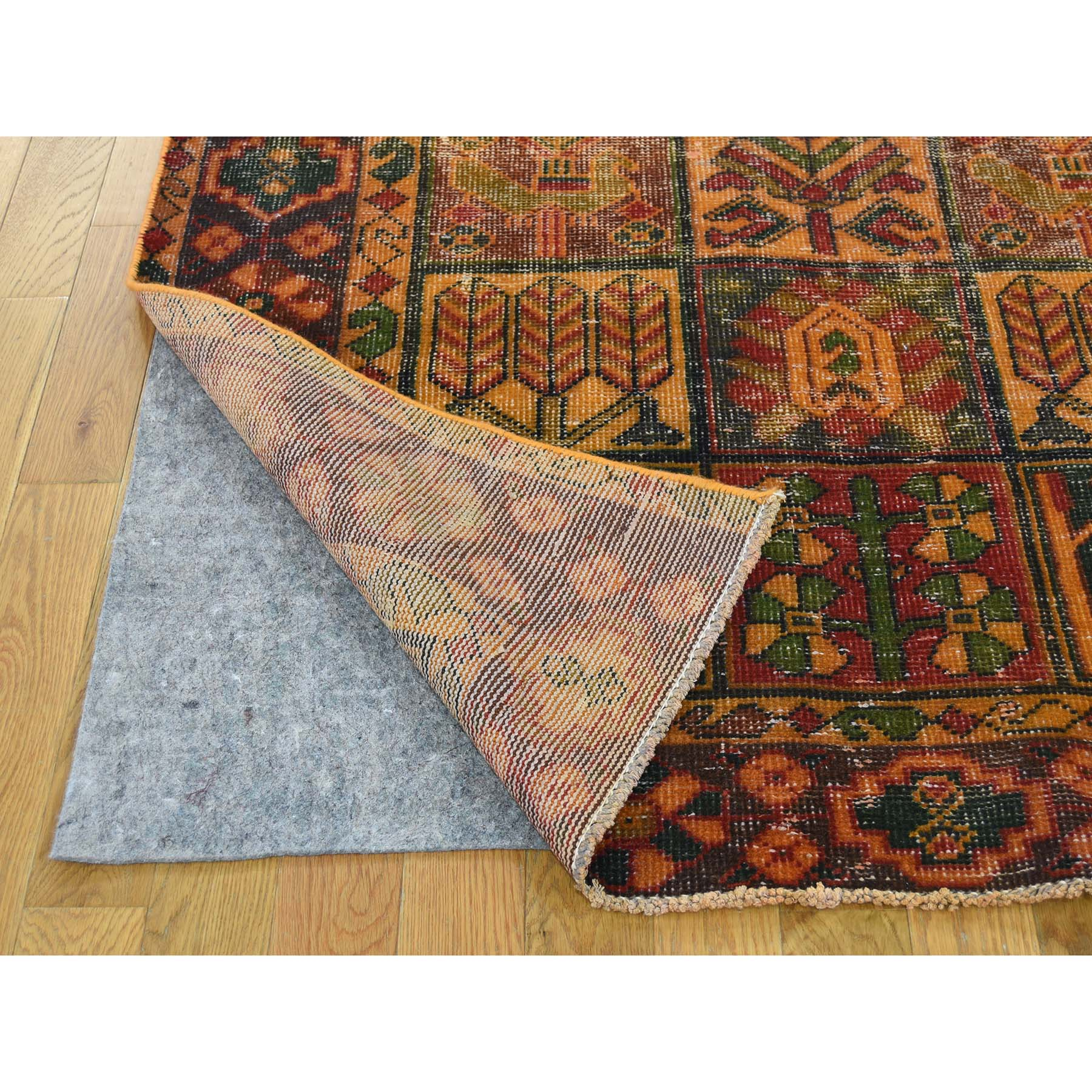 4-10--x9-6-- Hand Knotted Vintage Overdyed Persian Bakhtiari Wide Runner Rug