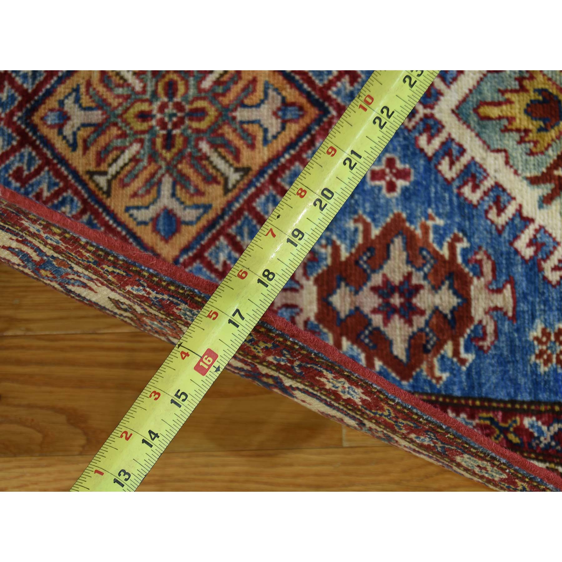 2-9--x4-2-- Hand Knotted Pure Wool Sky Blue Super Kazak Oriental Rug