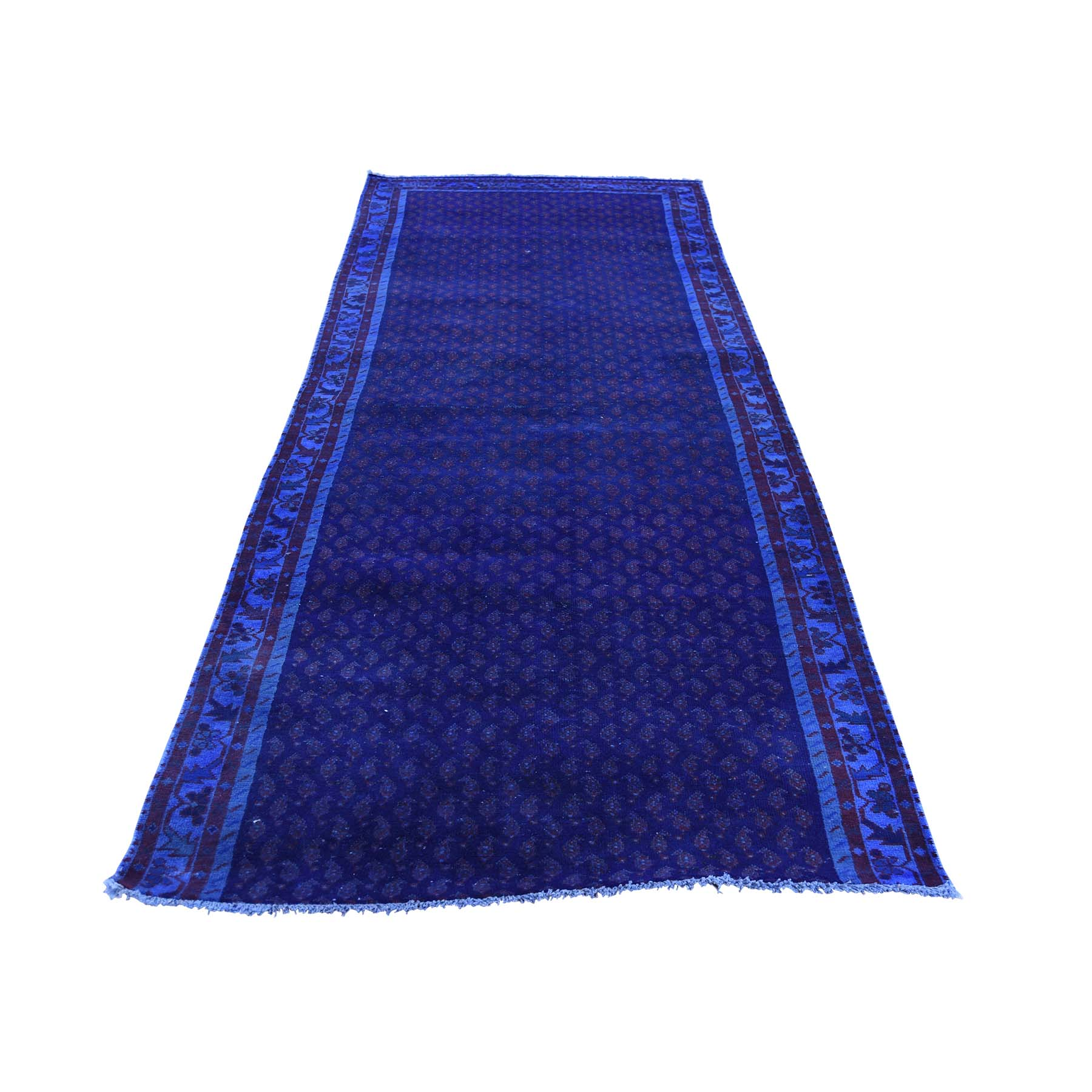 3'3''X9'10'' Hand-Knotted Vintage Overdyed Persian Sarouk Mir Fragment Wide Runner Rug moac8686