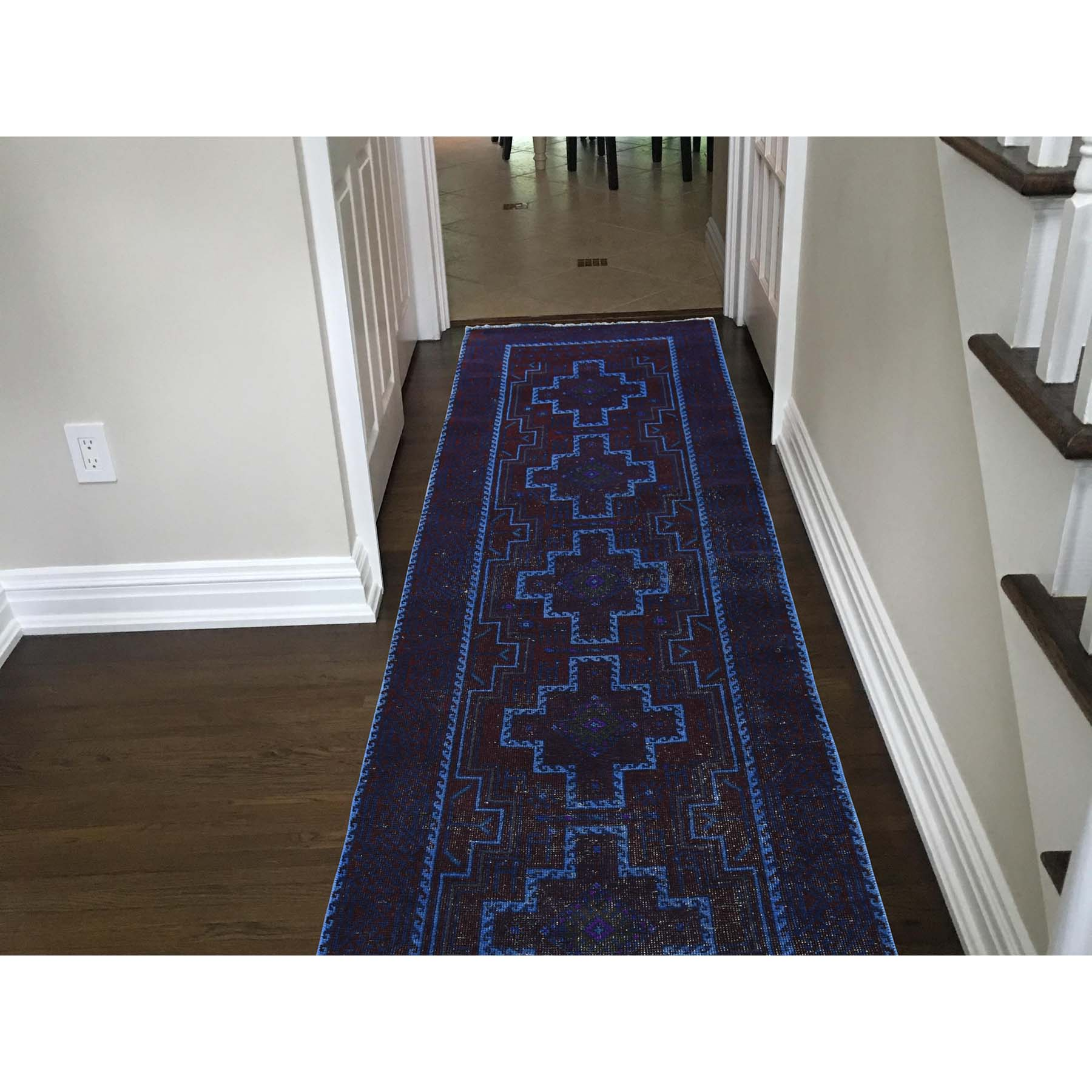 3-1--x10- Hand Knotted Vintage Overdyed Persian Hamadan Runner Rug