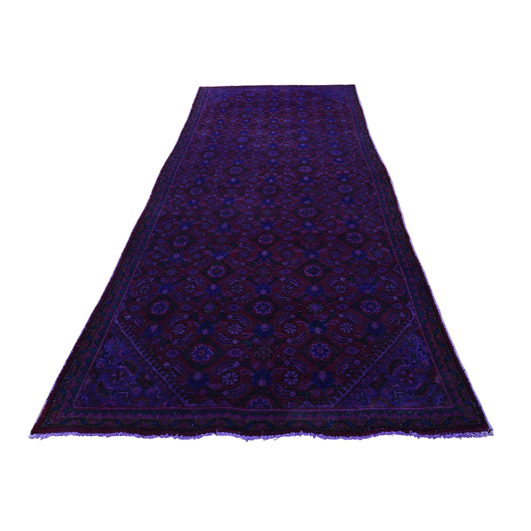 3'9''X10'4'' Hand-Knotted Vintage Overdyed Persian Sarouk Mir Wide Runner Rug moac8700