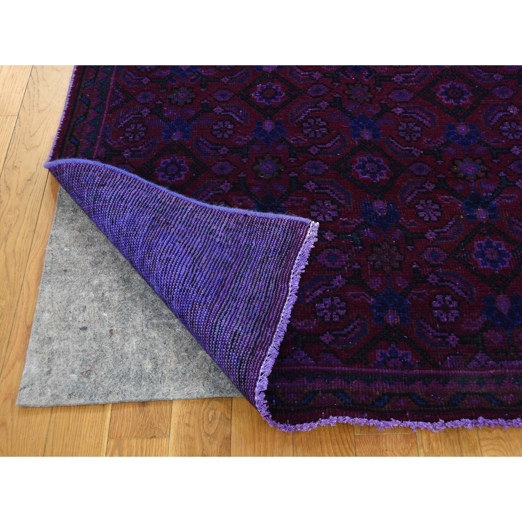 3-9--x10-4-- Hand-Knotted Vintage Overdyed Persian Sarouk Mir Wide Runner Rug