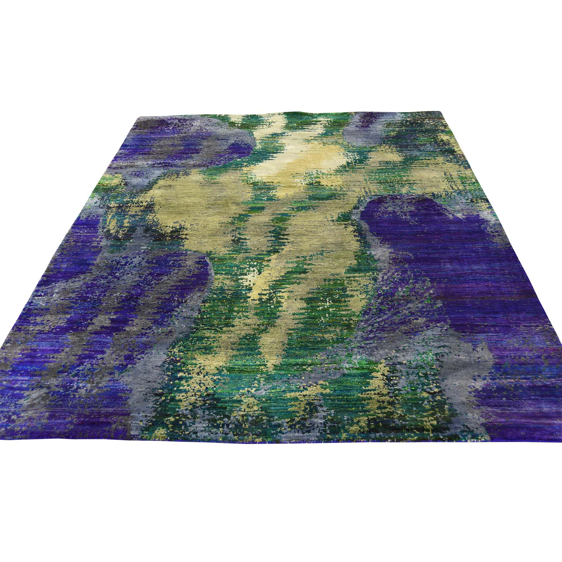 5-x7- Hand Knotted Multicolored Sari Silk Abstract Design Oriental Rug