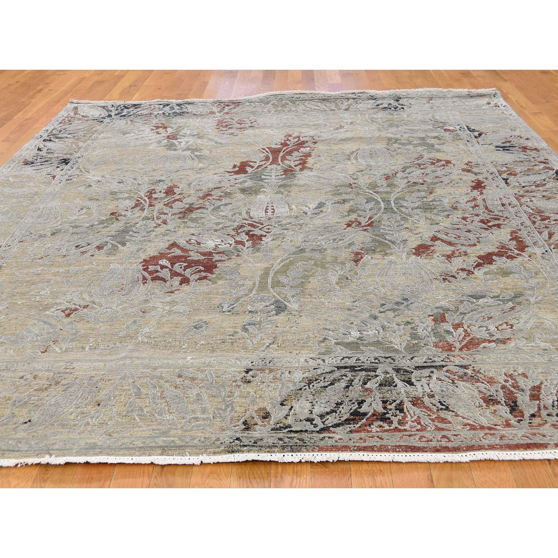 8-1--x10-1- Silk With Oxidized Wool Broken Tulip Design Hand-Knotted Oriental Rug