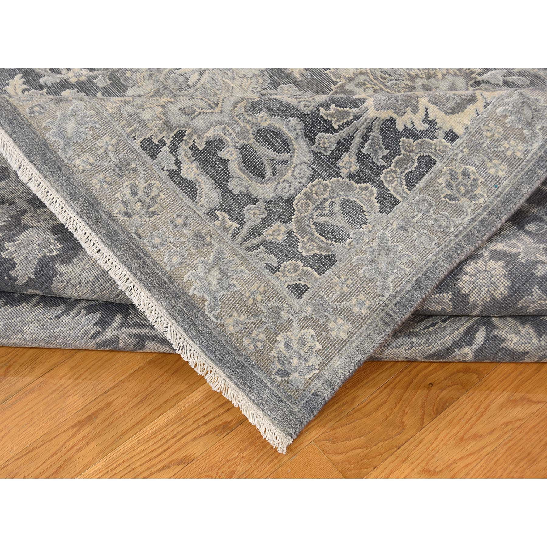 9-x12-2-- Silk With Oxidized Wool Hand Knotted Oushak Influence Oriental Rug