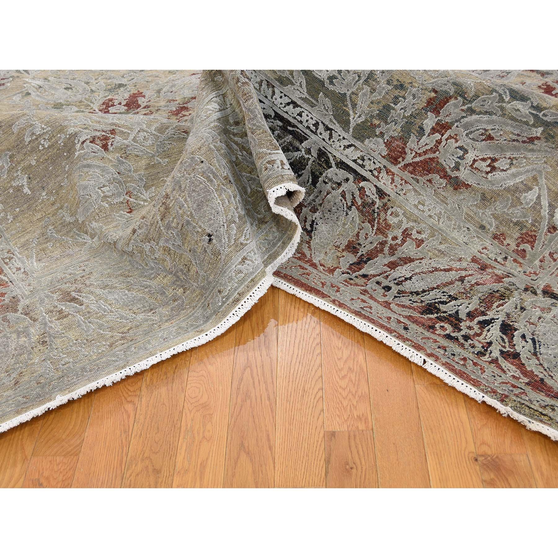 8-2--x10-2-- Silk With Oxidized Wool Broken Tulip Design Hand-Knotted Oriental Rug