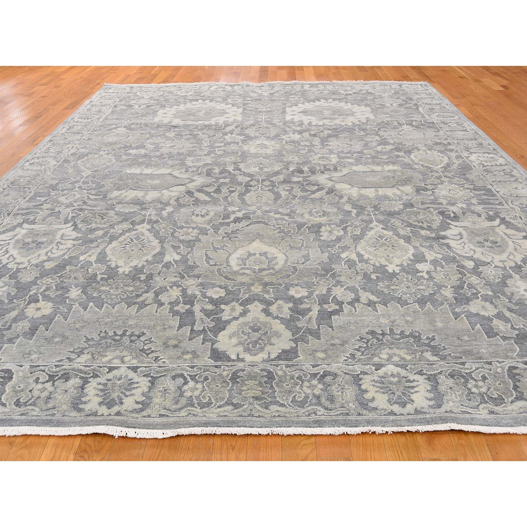 9-x12-4-- Silk With Oxidized Wool Hand Knotted Oushak Influence Oriental Rug