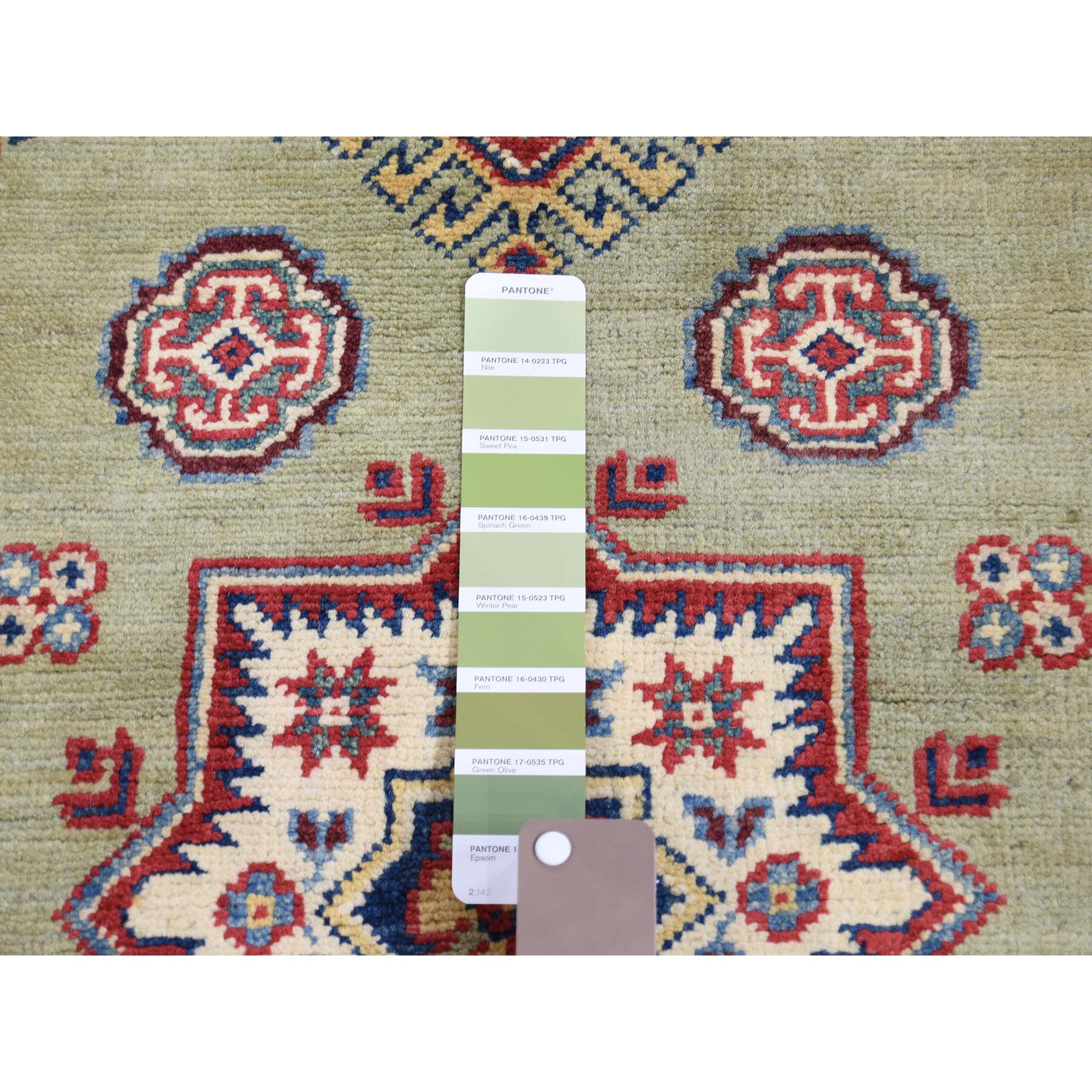 4-x5-8-- Special Kazak Sea Green Tribal Design Hand-Knotted Oriental Rug
