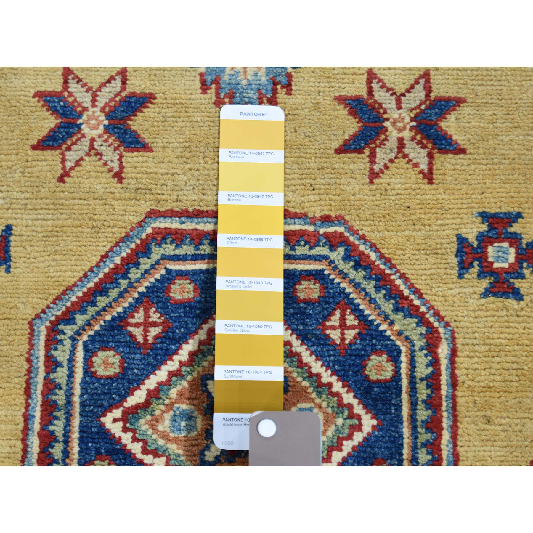 4-1--x6- Gold Special Kazak Tribal Design Hand-Knotted Oriental Rug