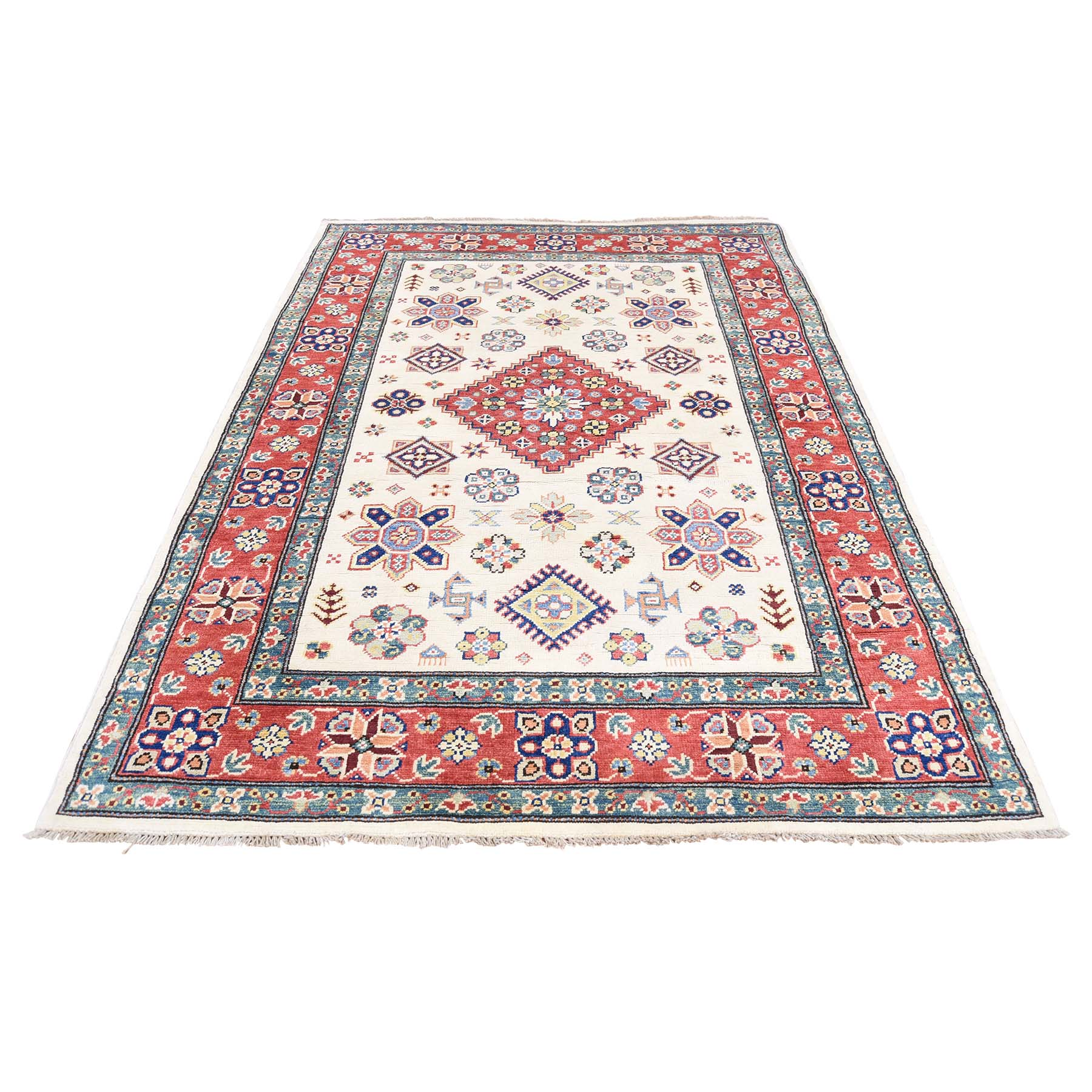 4'X5'8'' Ivory Special Kazak Pure Wool Hand-Knotted Tribal Design Oriental Rug moac88a7