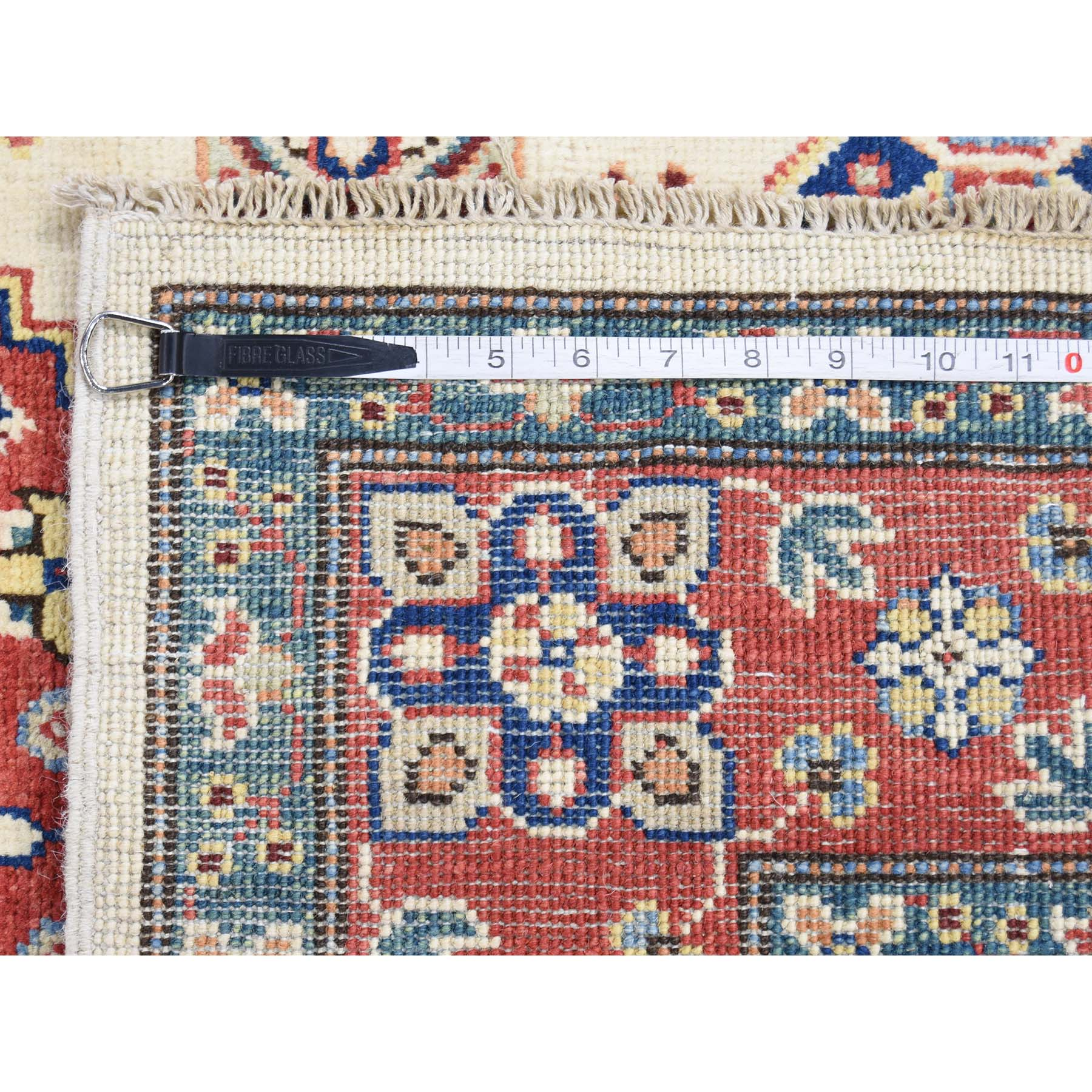 4-x5-8-- Ivory Special Kazak Pure Wool Hand-Knotted Tribal Design Oriental Rug