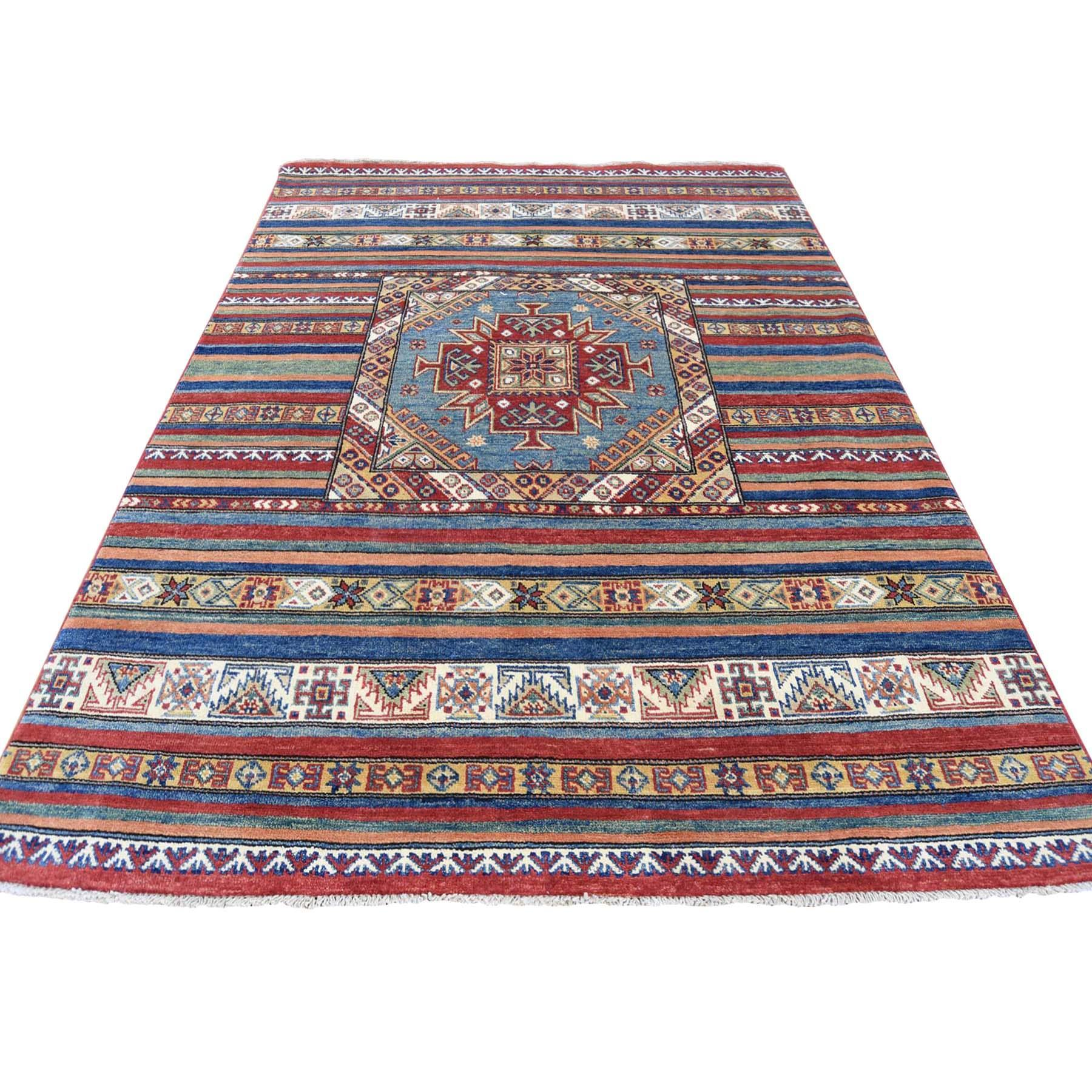 4'10''X6'5'' Special Kazak With Khorjin Design Hand-Knotted Pure Wool Rug moac88b0