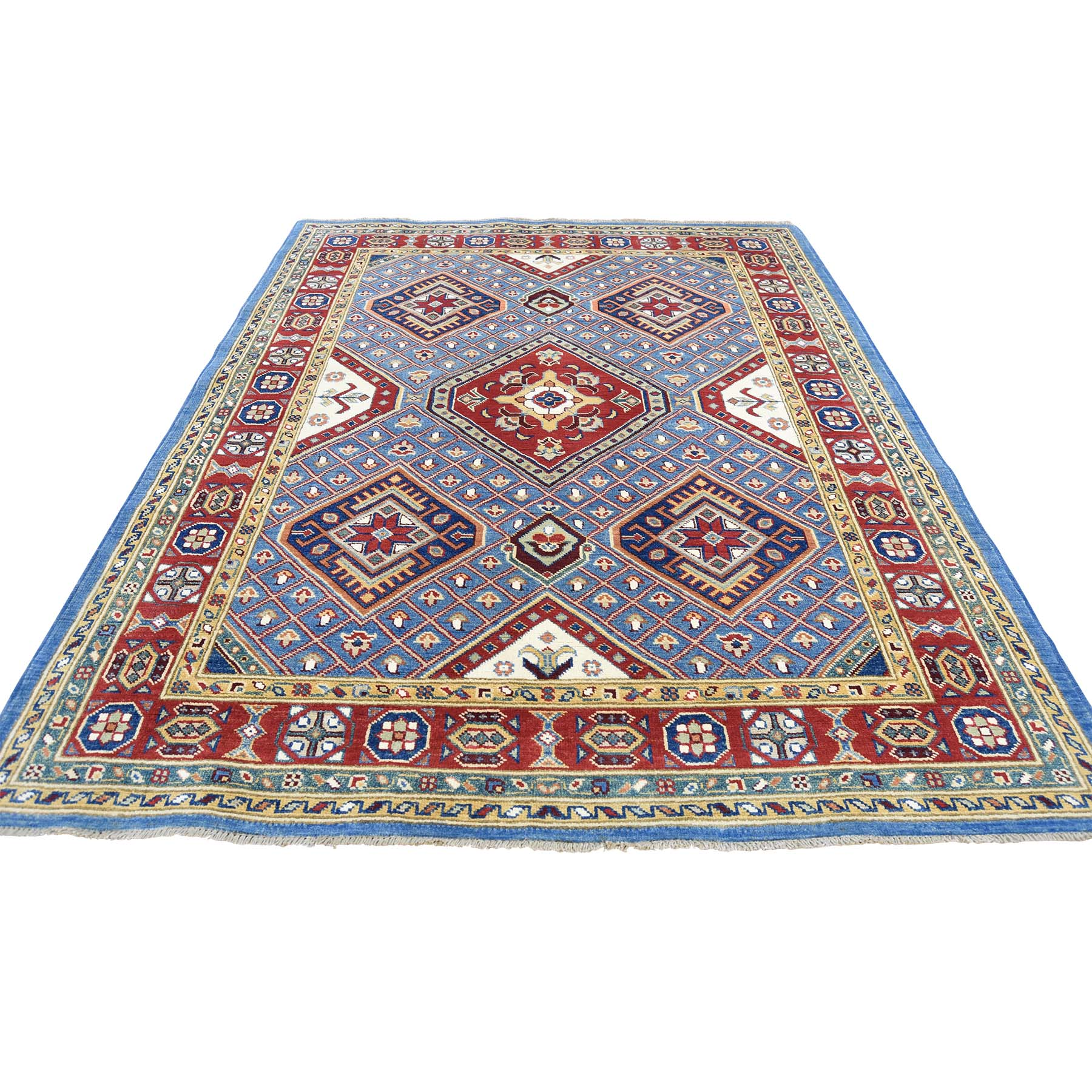 5'1''X6'6'' Sky Blue Special Kazak Pure Wool Hand-Knotted Oriental Rug moac88bb