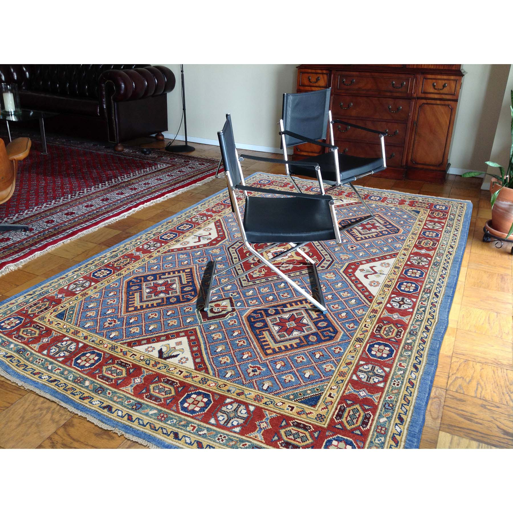 5-1--x6-6-- Sky Blue Special Kazak Pure Wool Hand-Knotted Oriental Rug